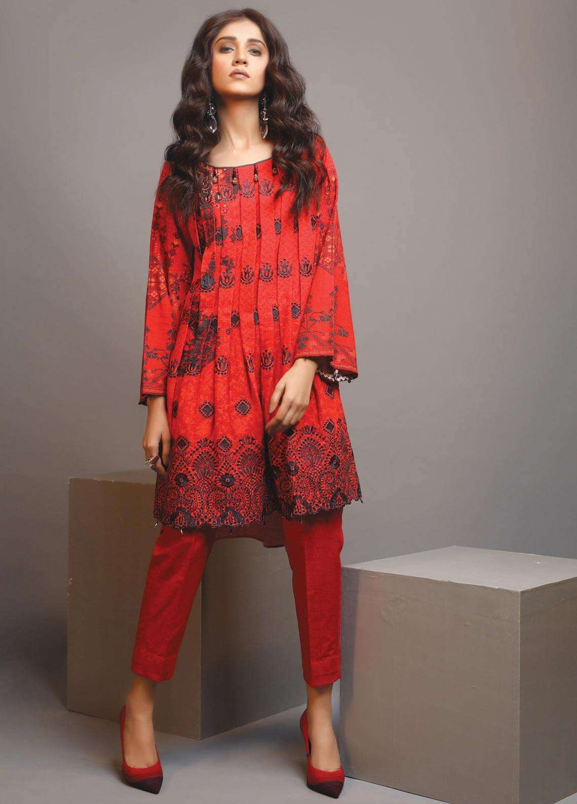 Edenrobe Embroidered Khaddar Unstitched Kurties 019468 - Winter Collection