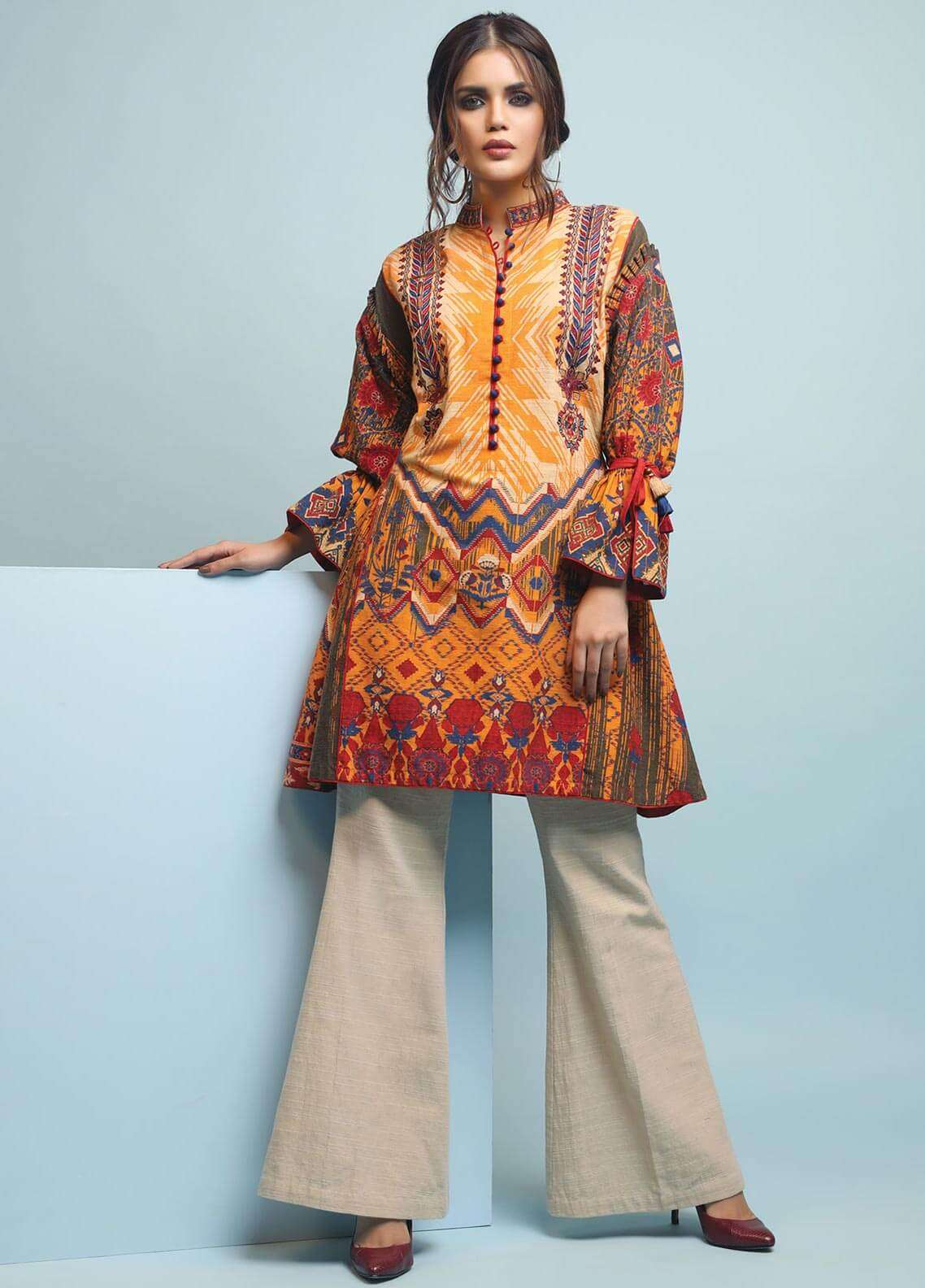 Edenrobe Embroidered Khaddar Unstitched Kurties 019470 - Winter Collection