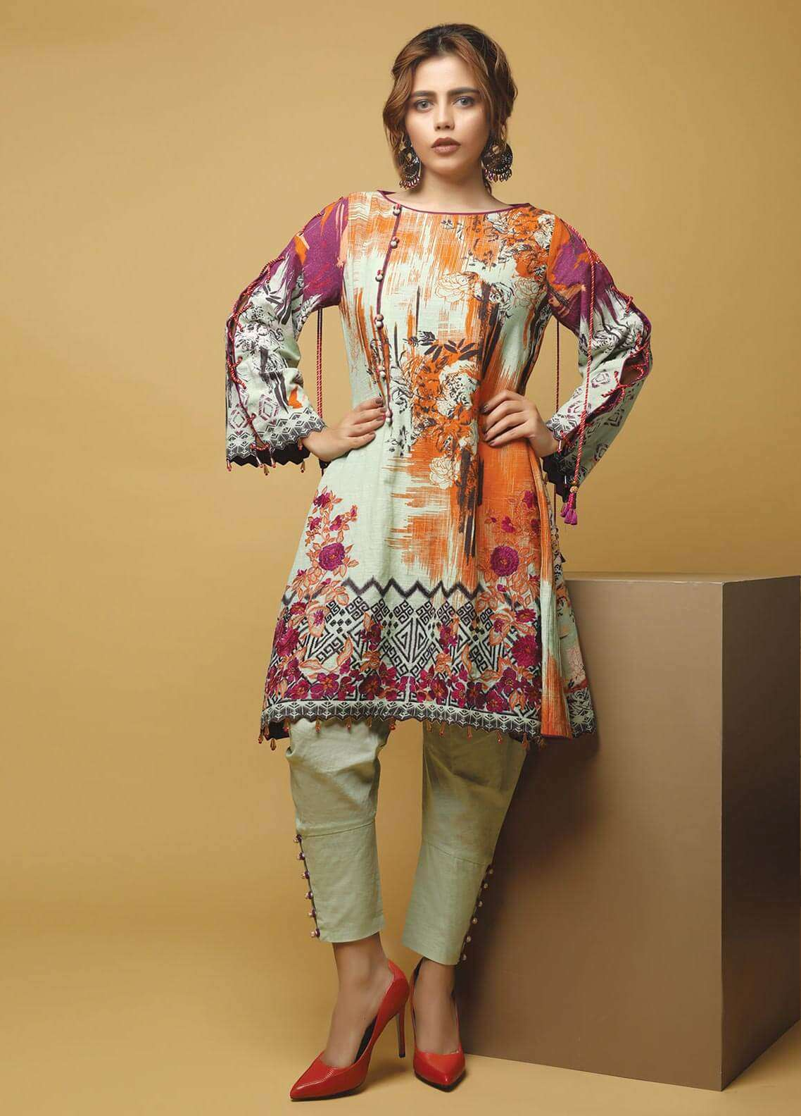Edenrobe Printed Khaddar Unstitched 2 Piece Suit 019472 - Winter Collection
