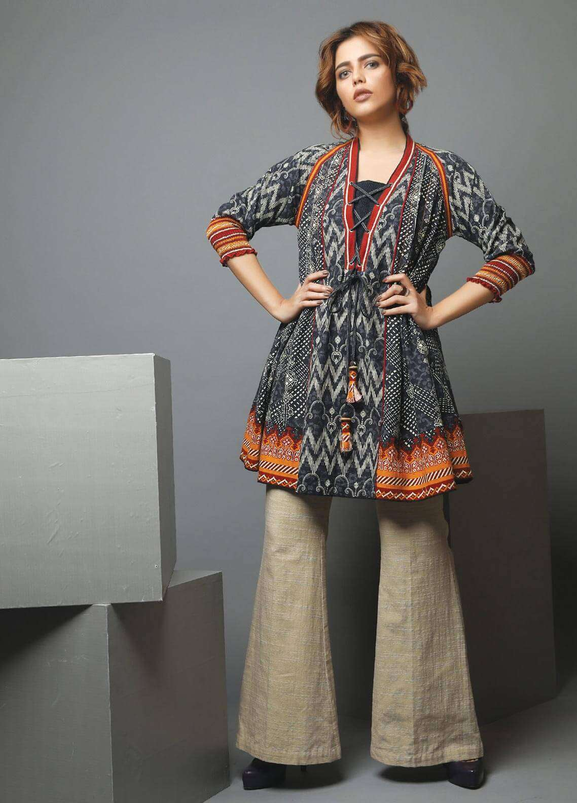 Edenrobe Printed Khaddar Unstitched Kurties 019474 - Winter Collection