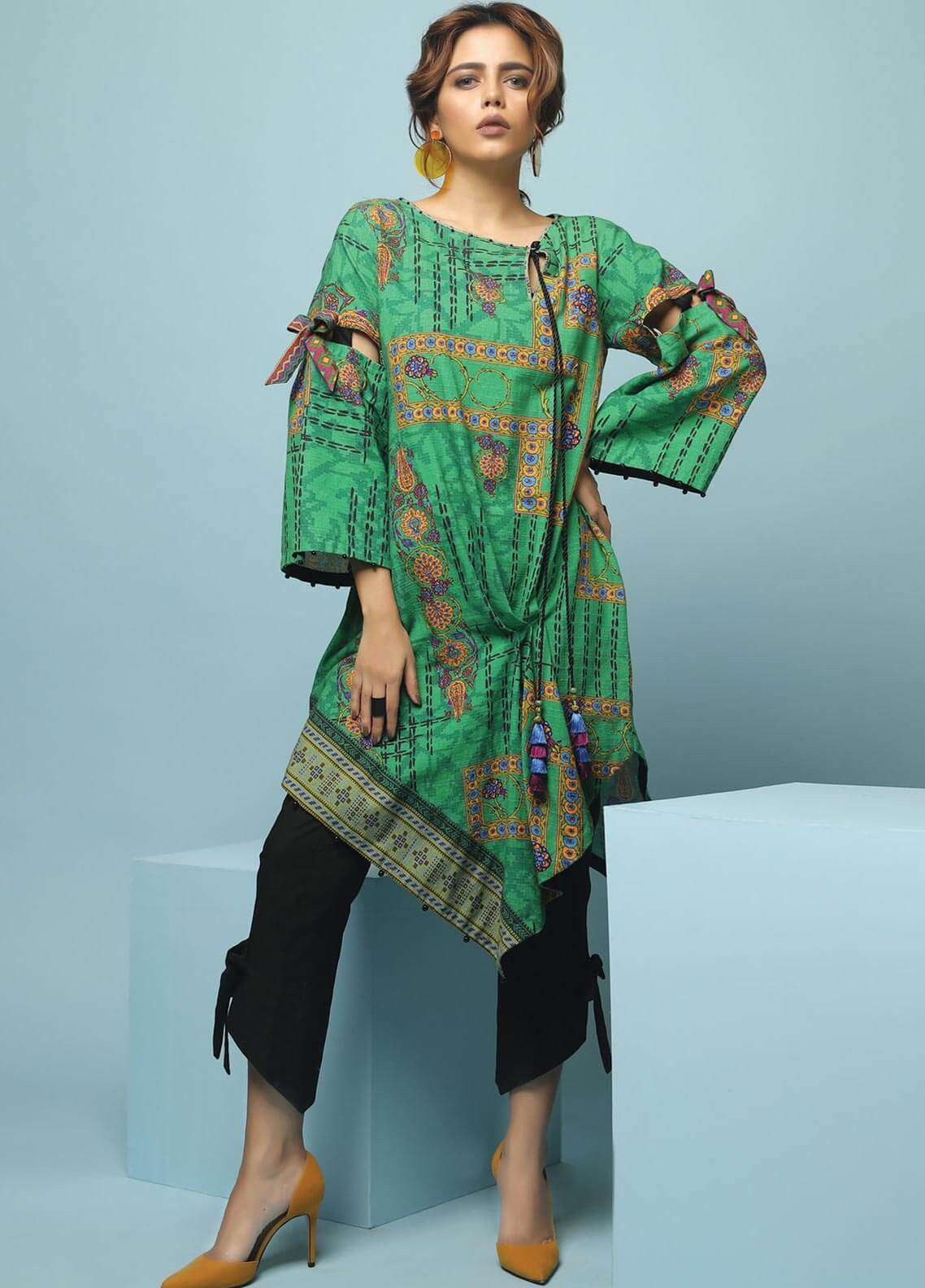 Edenrobe Printed Khaddar Unstitched Kurties 019475 - Winter Collection