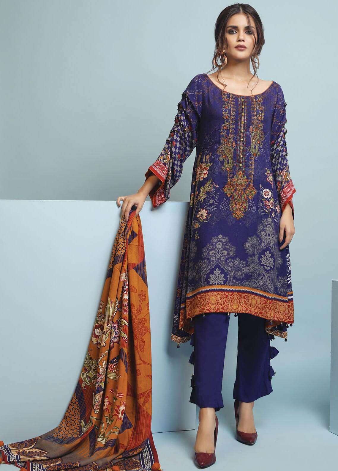 Edenrobe Embroidered Viscose Unstitched 3 Piece Suit 019476 - Winter Collection