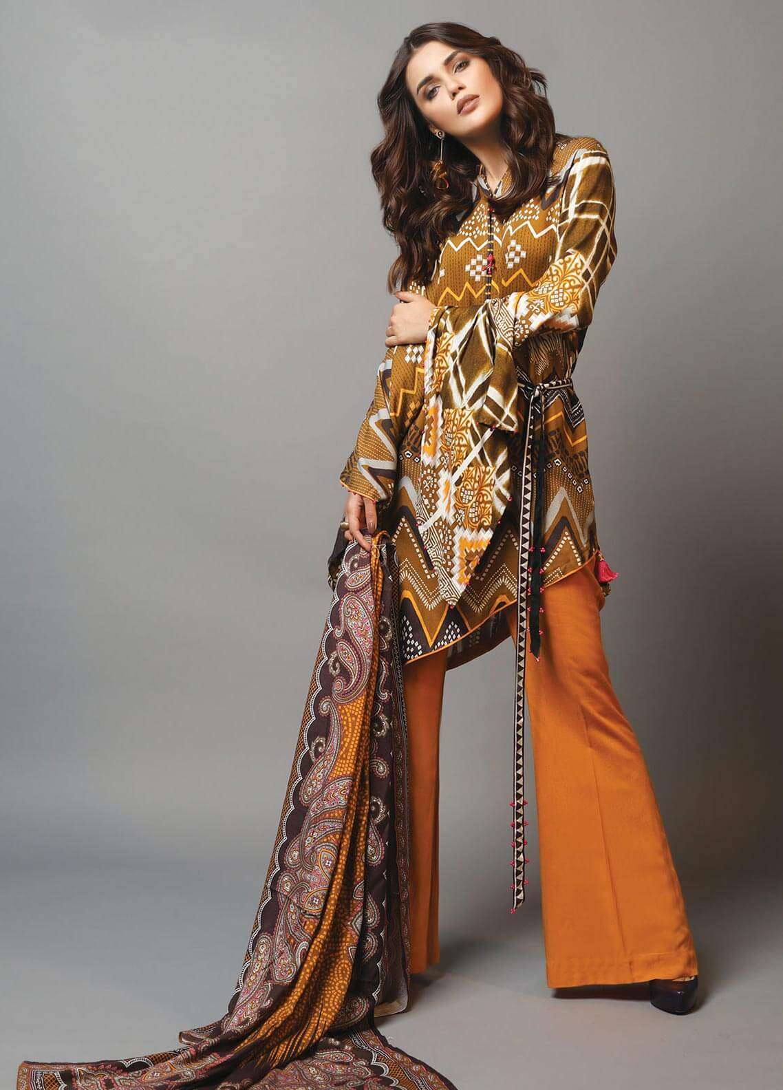 Edenrobe Printed Viscose Unstitched 3 Piece Suit 019479 - Winter Collection