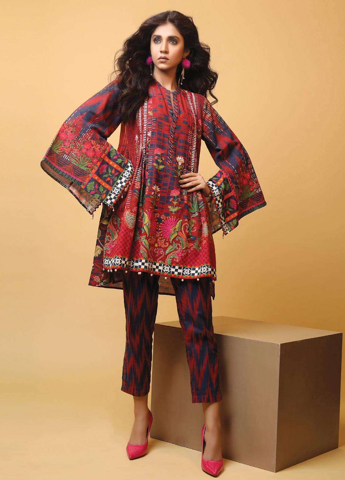 Edenrobe Printed Khaddar Unstitched 2 Piece Suit 019481 - Winter Collection