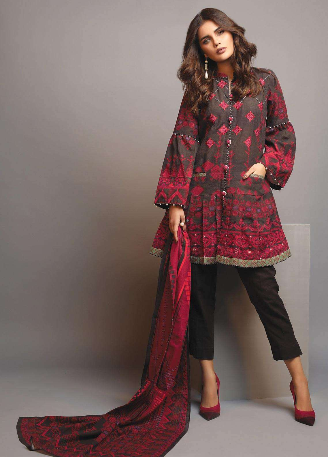 Edenrobe Embroidered Khaddar Unstitched 3 Piece Suit 019482 - Winter Collection