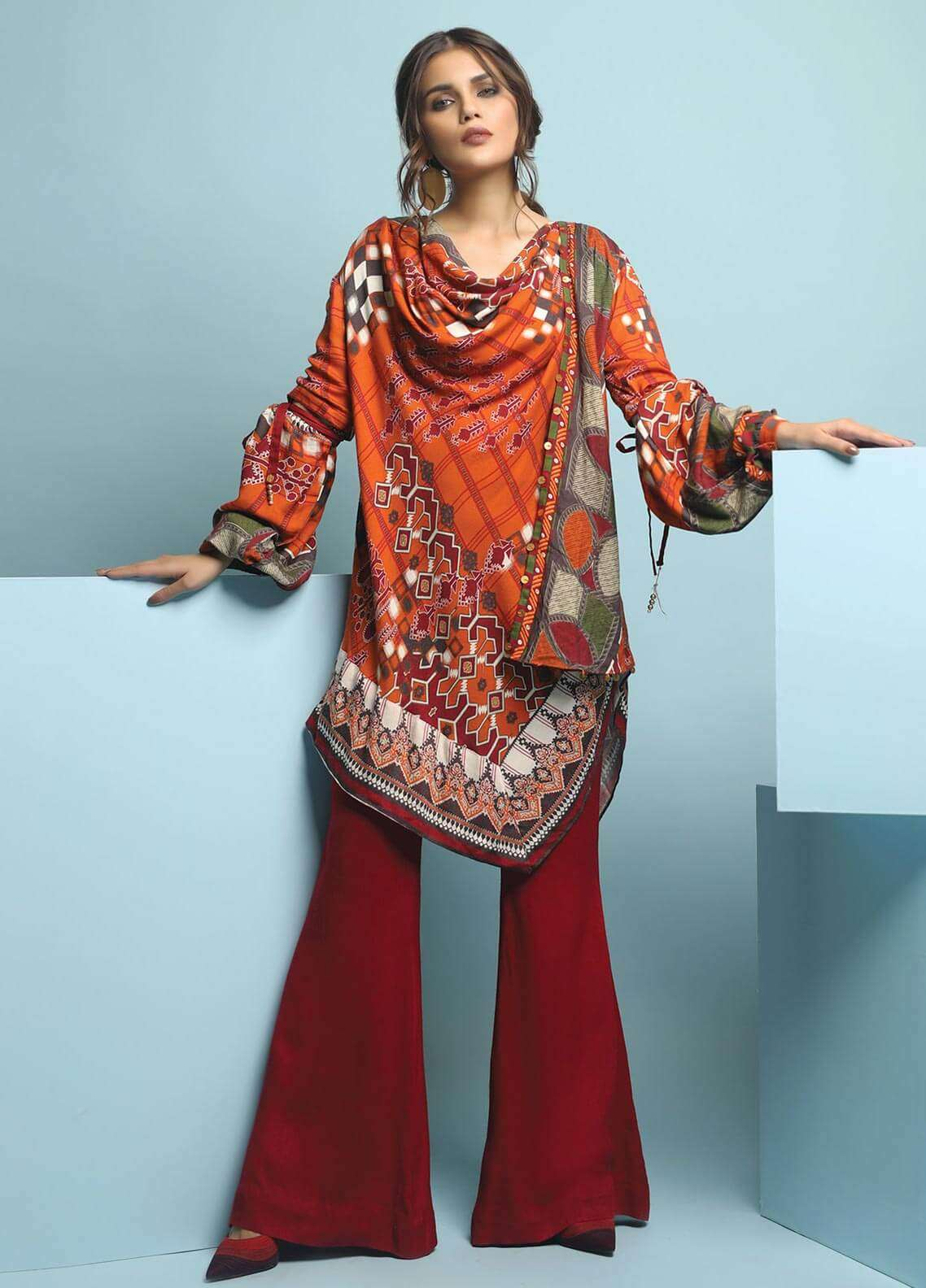 Edenrobe Printed Viscose Unstitched 3 Piece Suit 019484 - Winter Collection