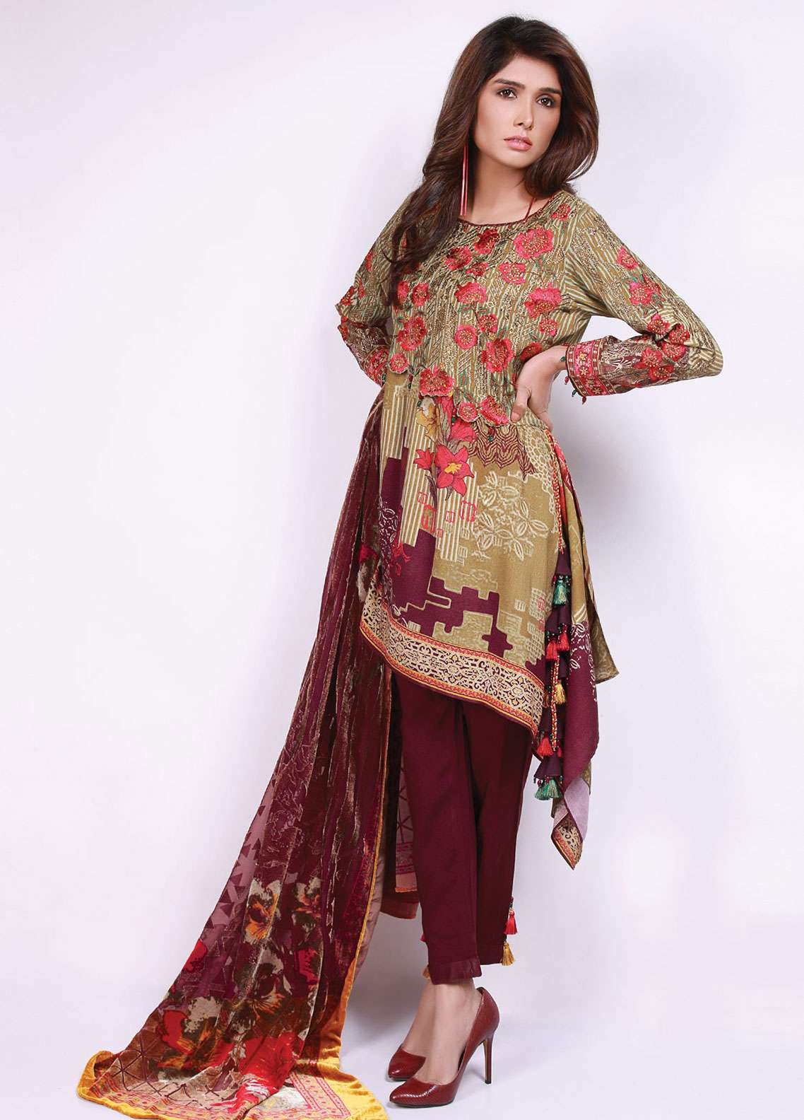 Edenrobe Embroidered Viscose Unstitched 3 Piece Suit 019492 - Winter Collection