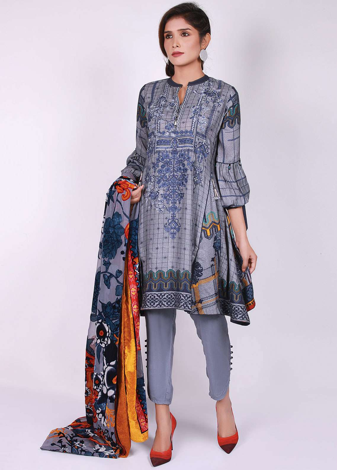 Edenrobe Embroidered Viscose Unstitched 3 Piece Suit 019493 - Winter Collection