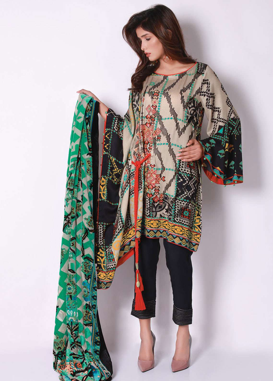 Edenrobe Embroidered Viscose Unstitched 3 Piece Suit 019494 - Winter Collection