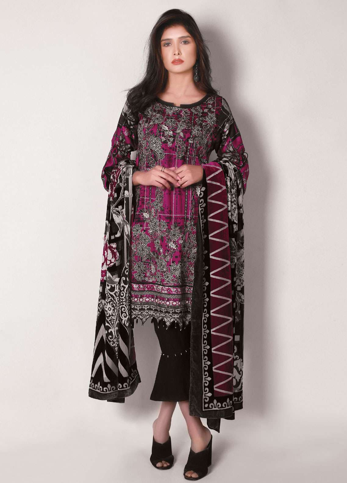 Edenrobe Embroidered Viscose Unstitched 3 Piece Suit 019495 - Winter Collection