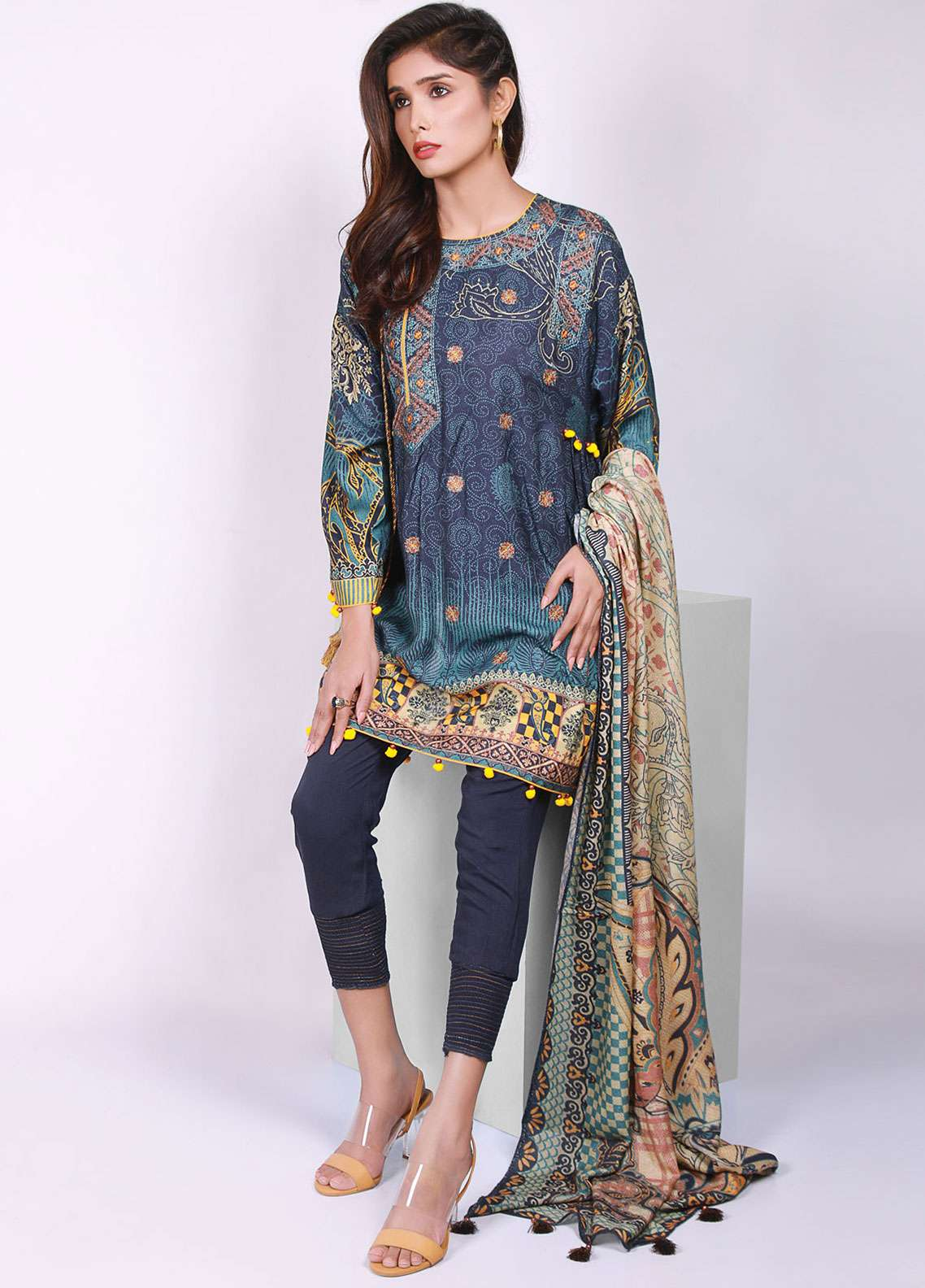 Edenrobe Embroidered Viscose Unstitched 3 Piece Suit 019497 - Winter Collection