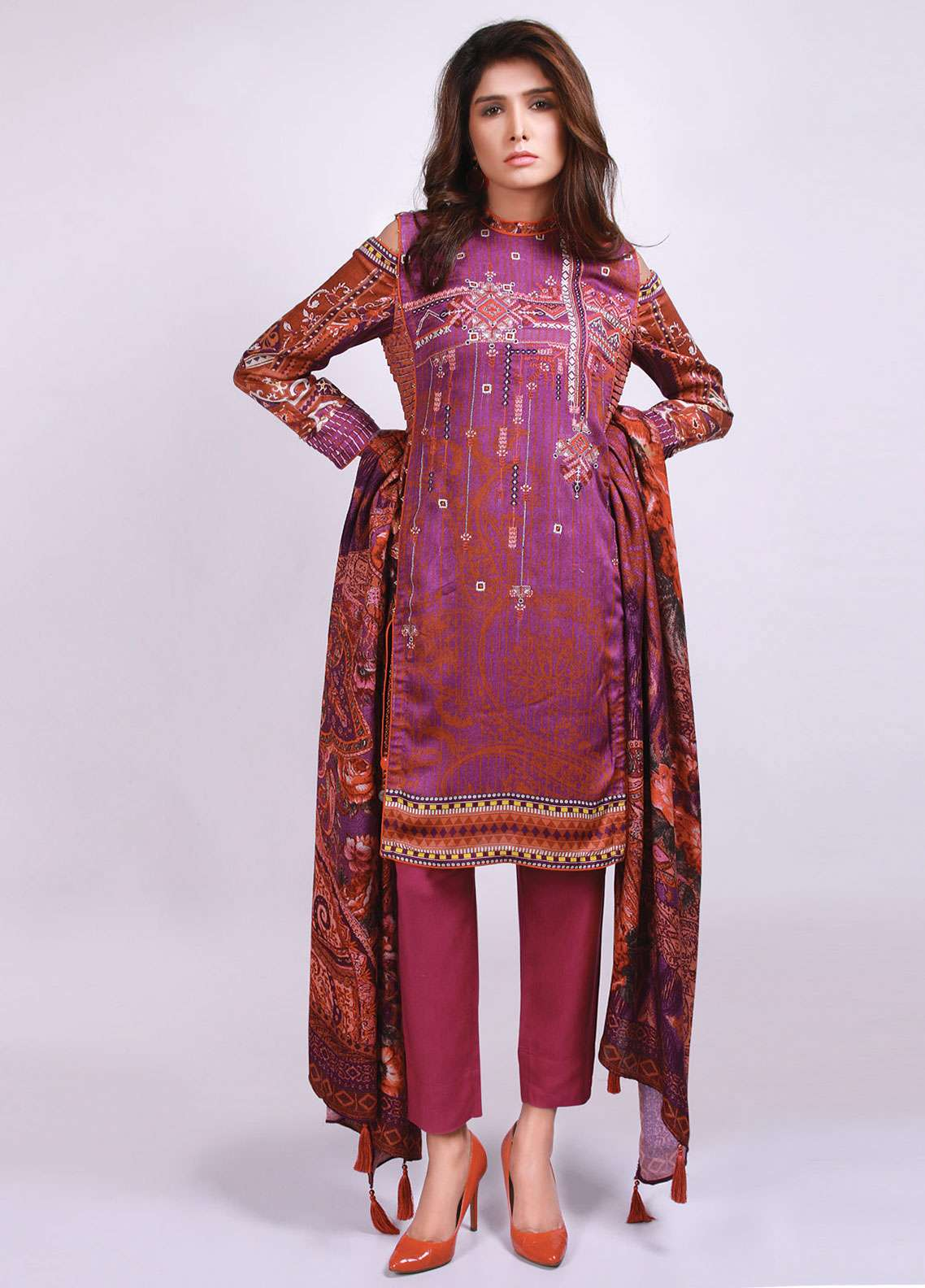 Edenrobe Embroidered Viscose Unstitched 3 Piece Suit 019498 - Winter Collection