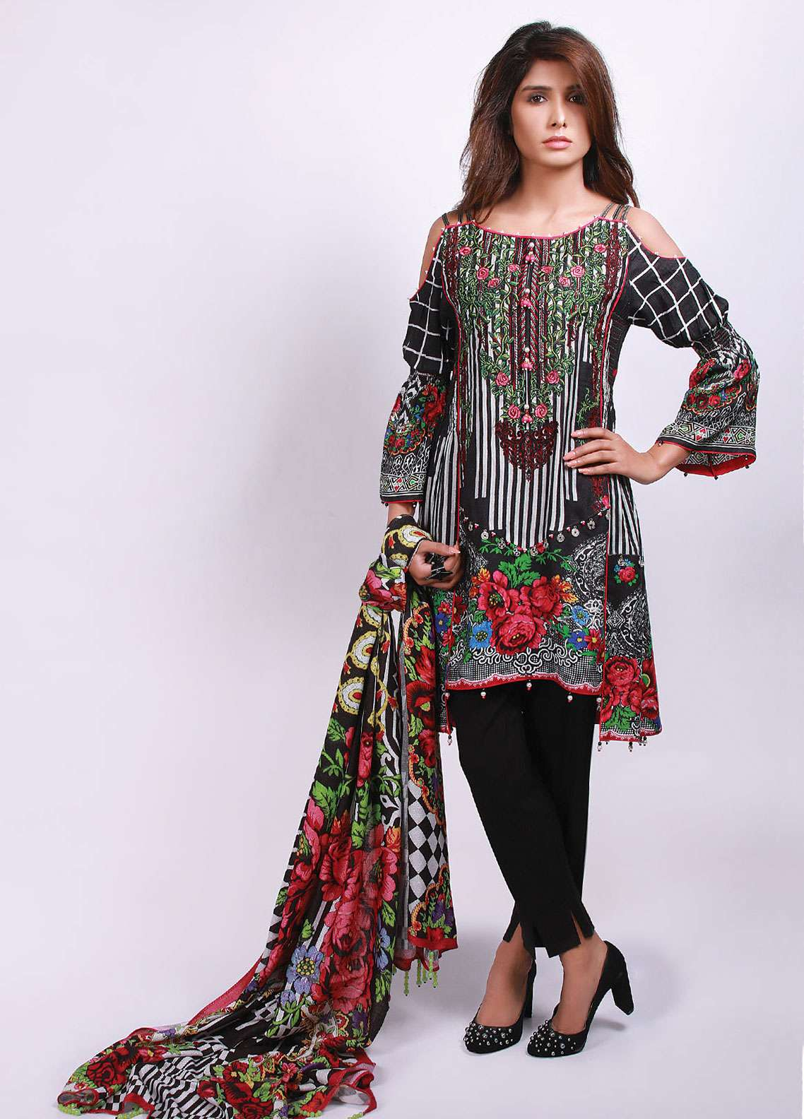 Edenrobe Embroidered Viscose Unstitched 3 Piece Suit 019499 - Winter Collection