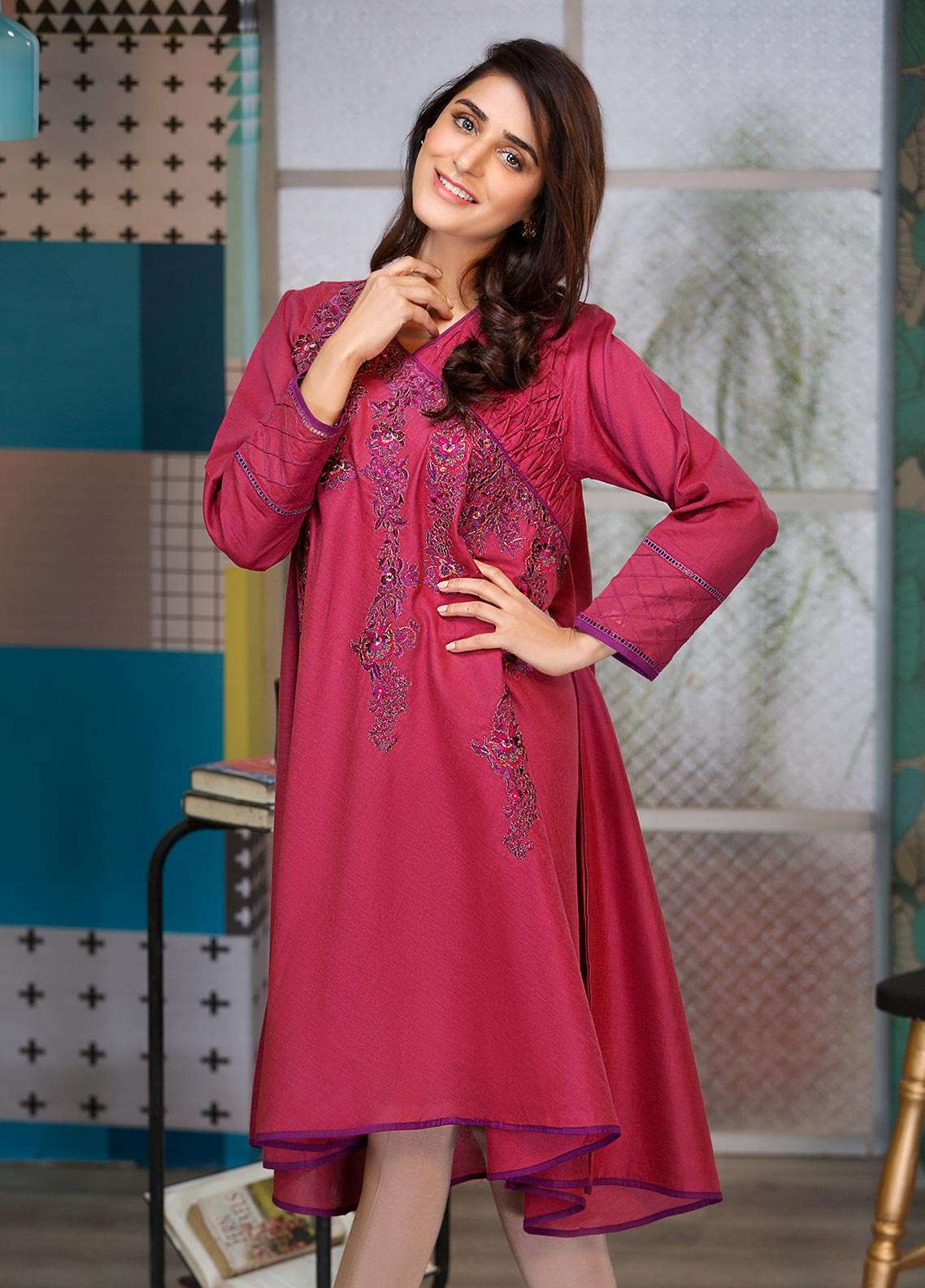 Edenrobe Embroidered  Stitched Kurtis EDK18L 66231