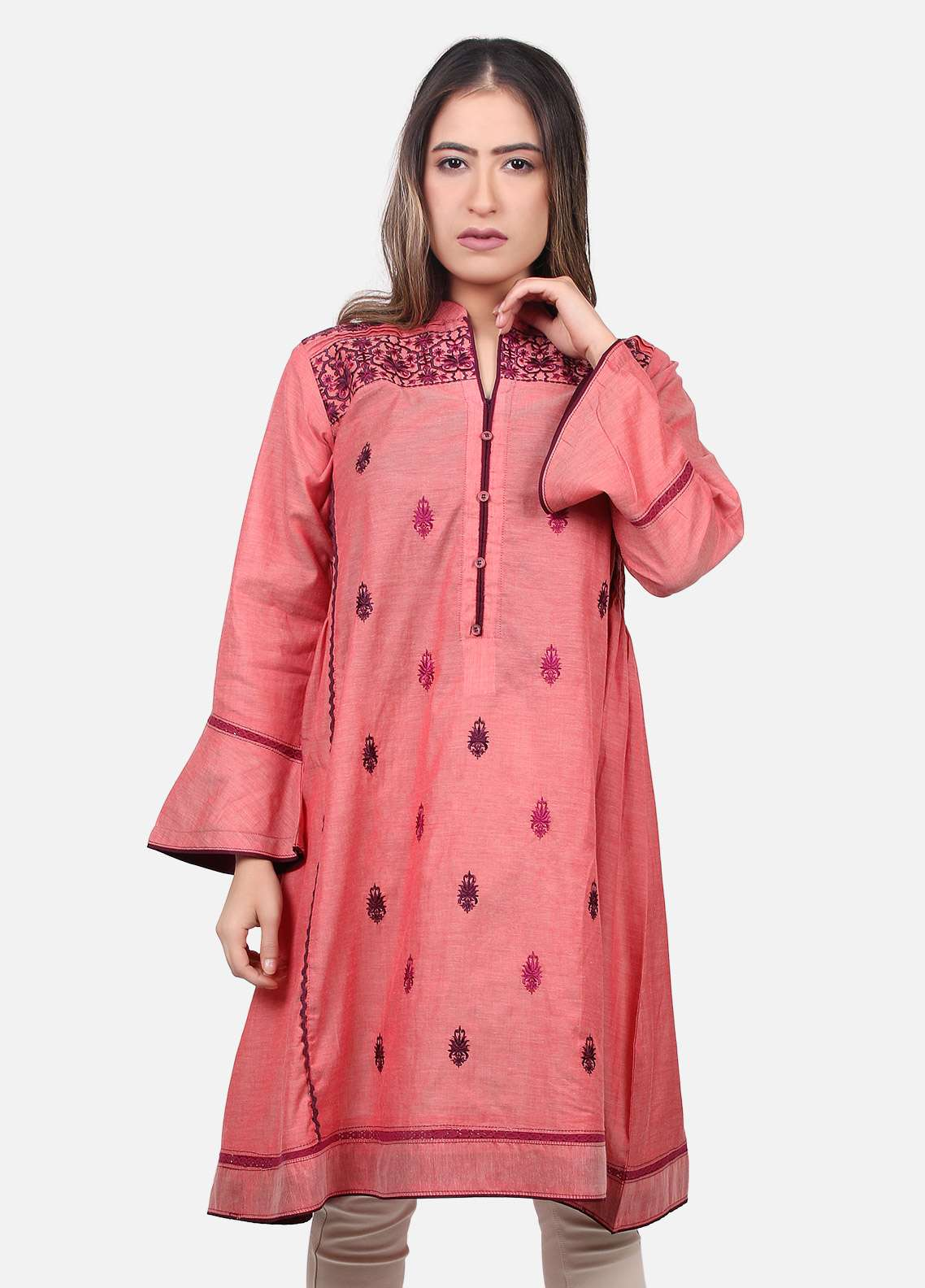 Edenrobe Embroidered  Stitched Kurtis EDK18L 66302
