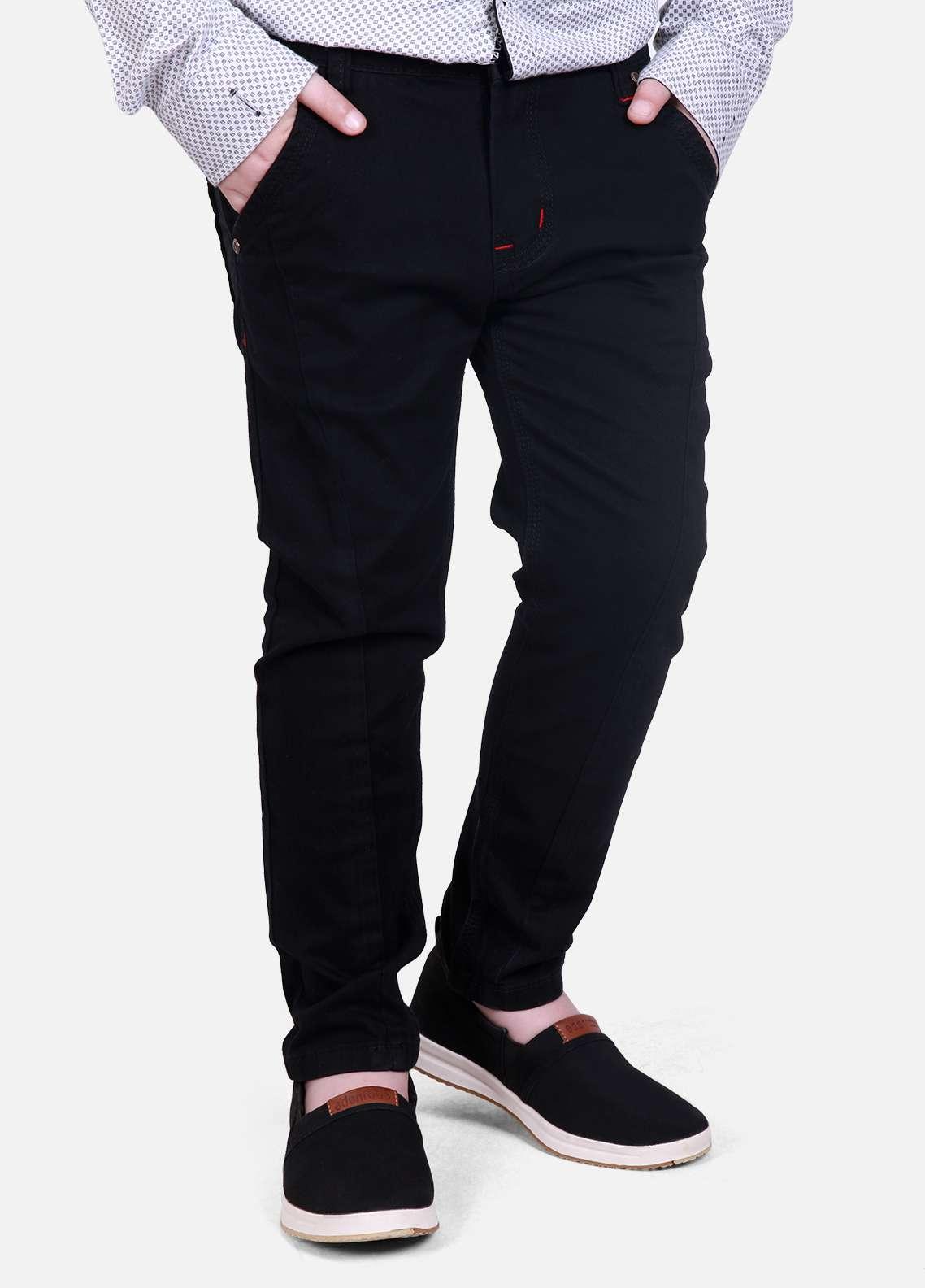 Edenrobe Cotton Plain Texture Pants for Boys - Black EDK18P 24053