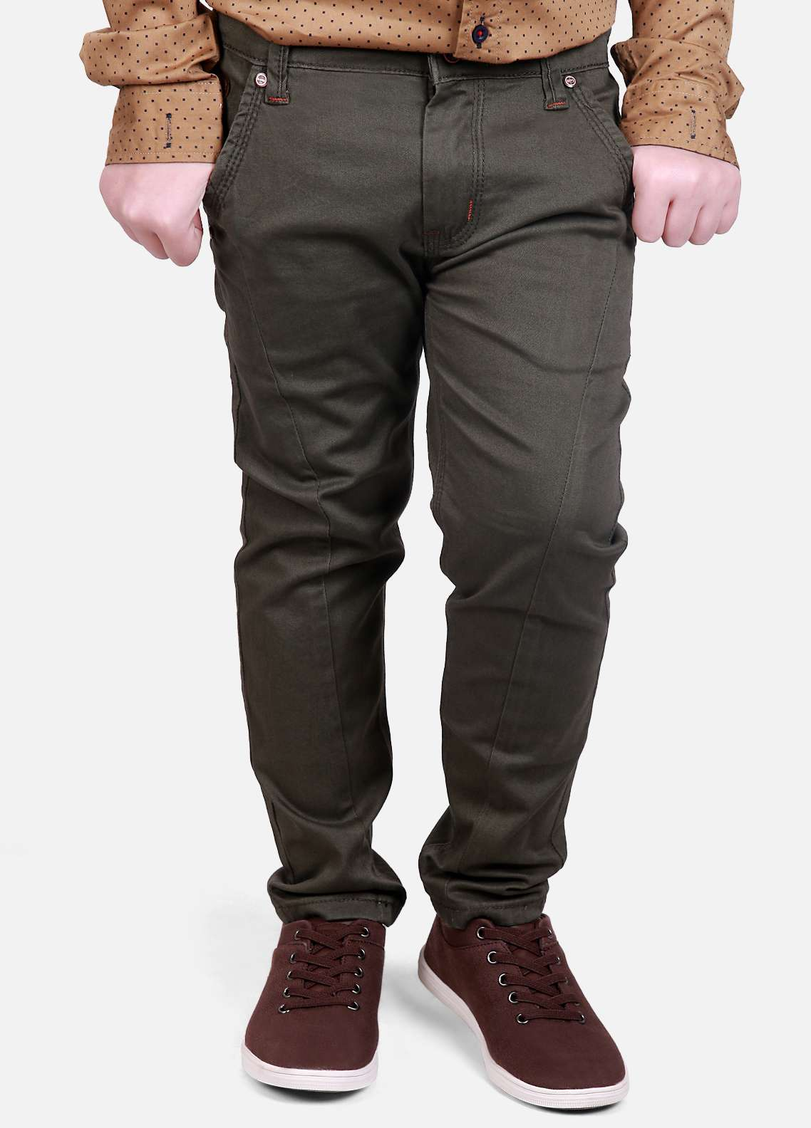 Edenrobe Cotton Plain Texture Pants for Boys - Green EDK18P 24053