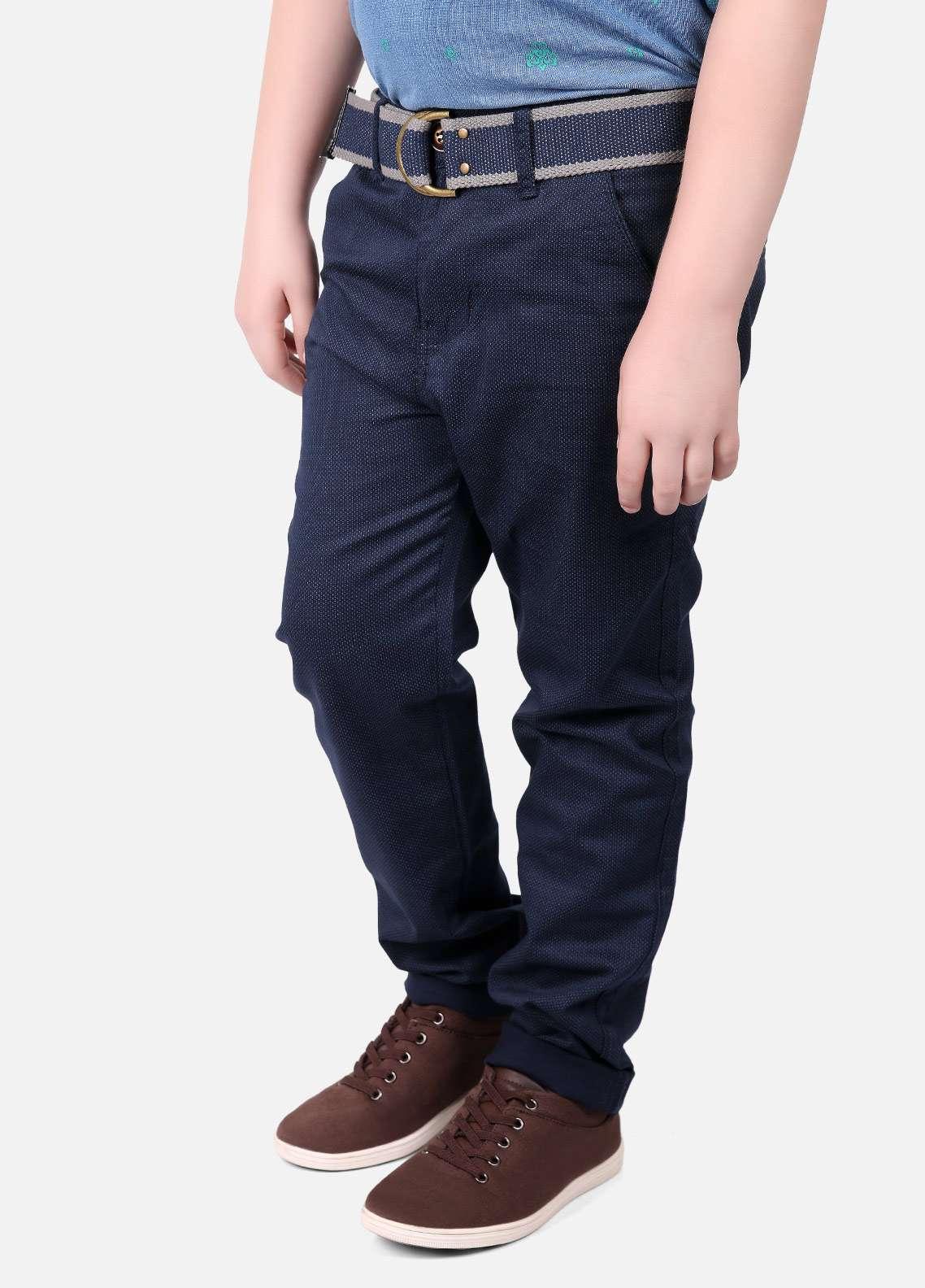 Edenrobe Cotton Printed Pants for Boys - Navy Blue EDK18P 5716