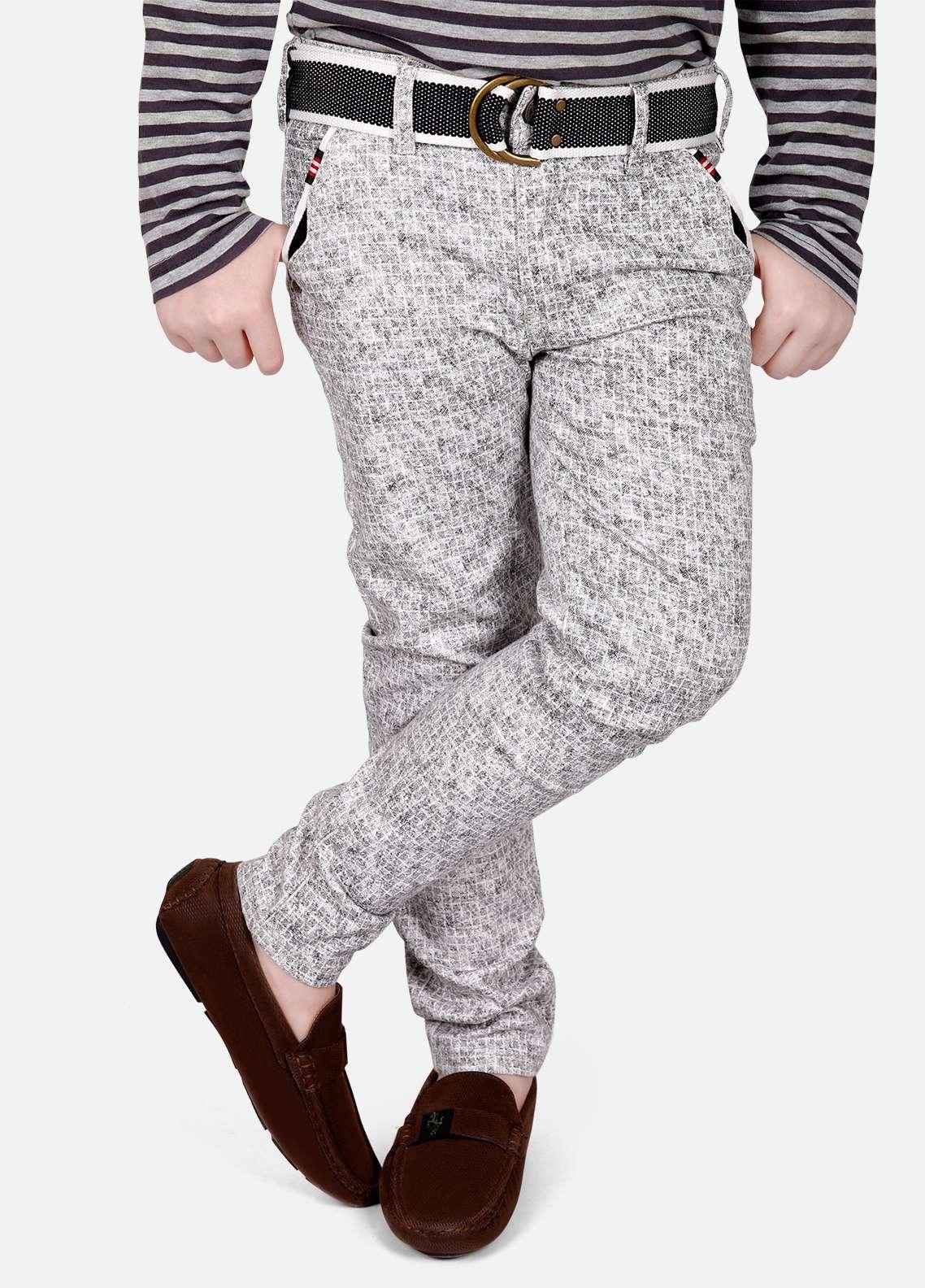 Edenrobe Cotton Printed Boys Pants - Grey EDK18P 5717