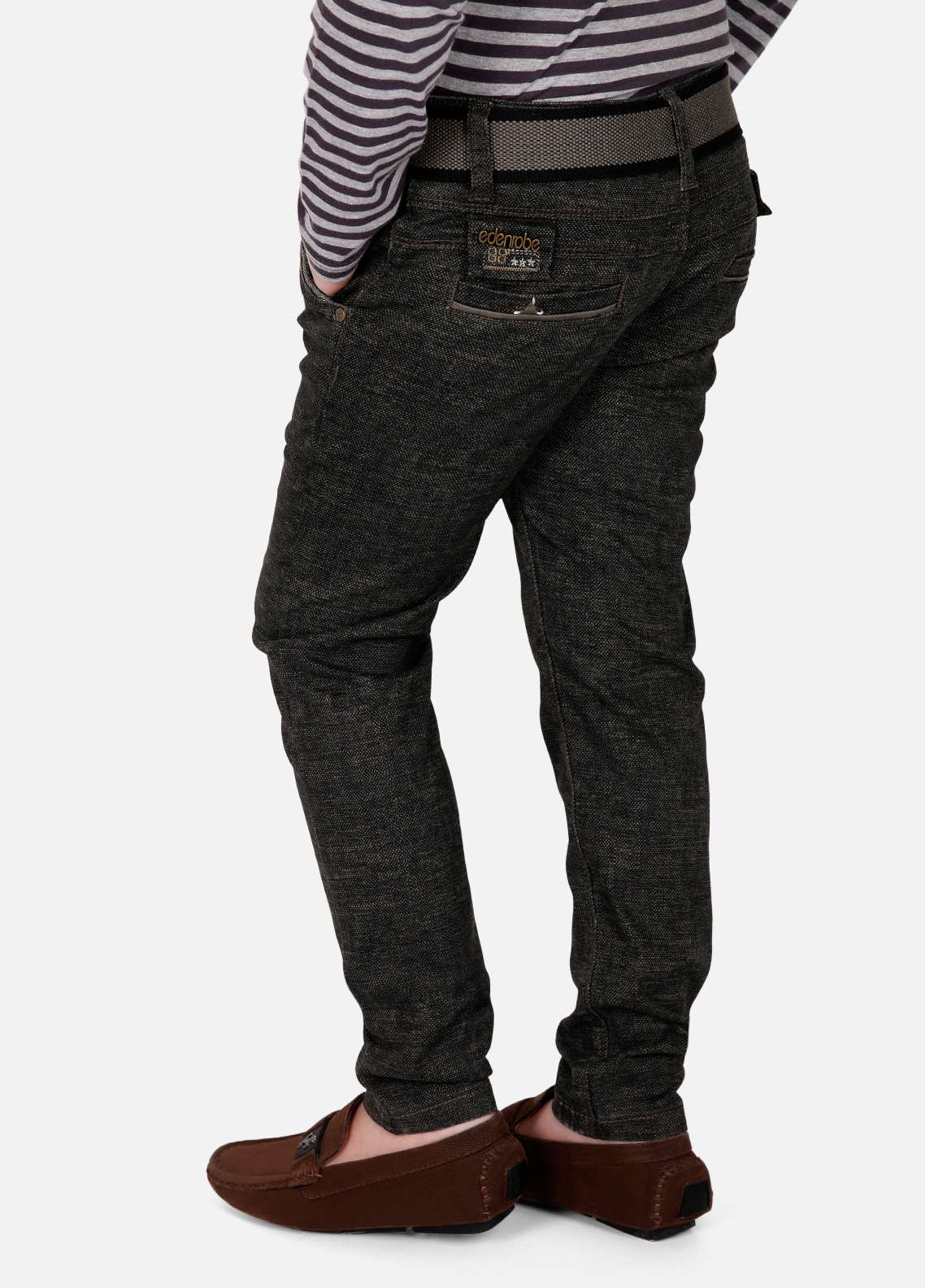Edenrobe Cotton Plain Texture Boys Pants - Black EDK18P 5719