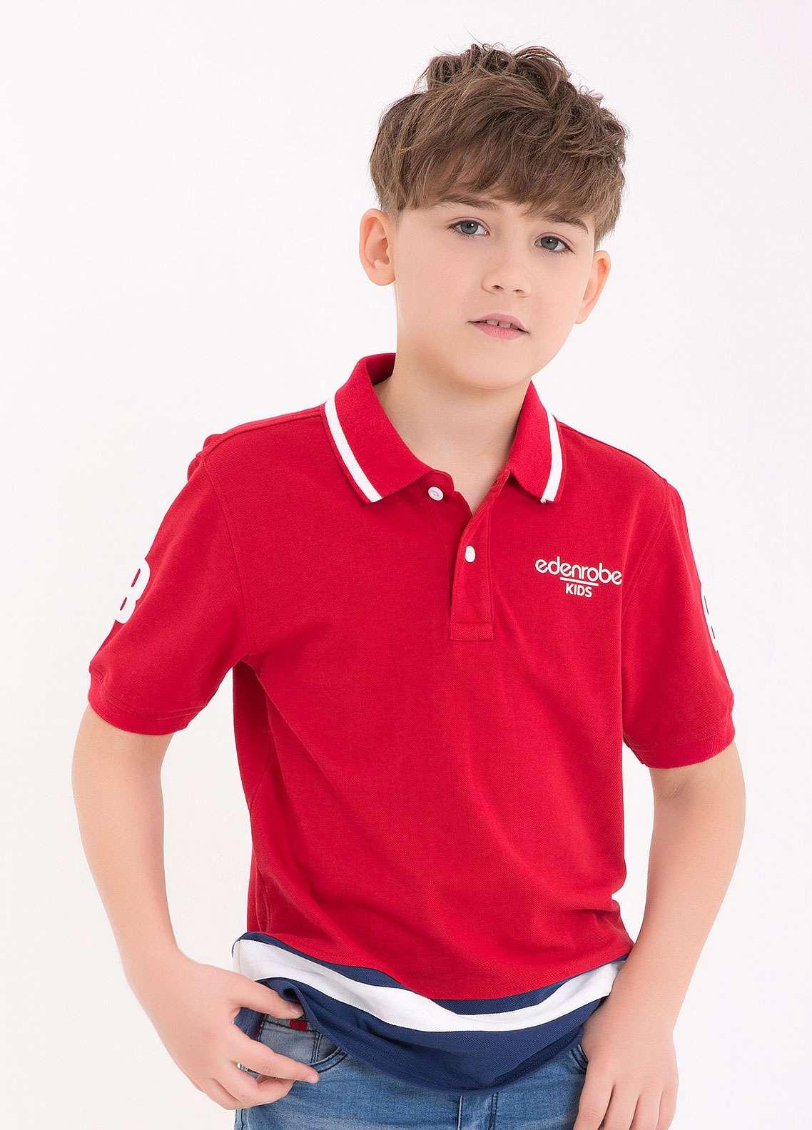 Edenrobe Cotton Polo Boys Shirts - Red EDK18PS 004