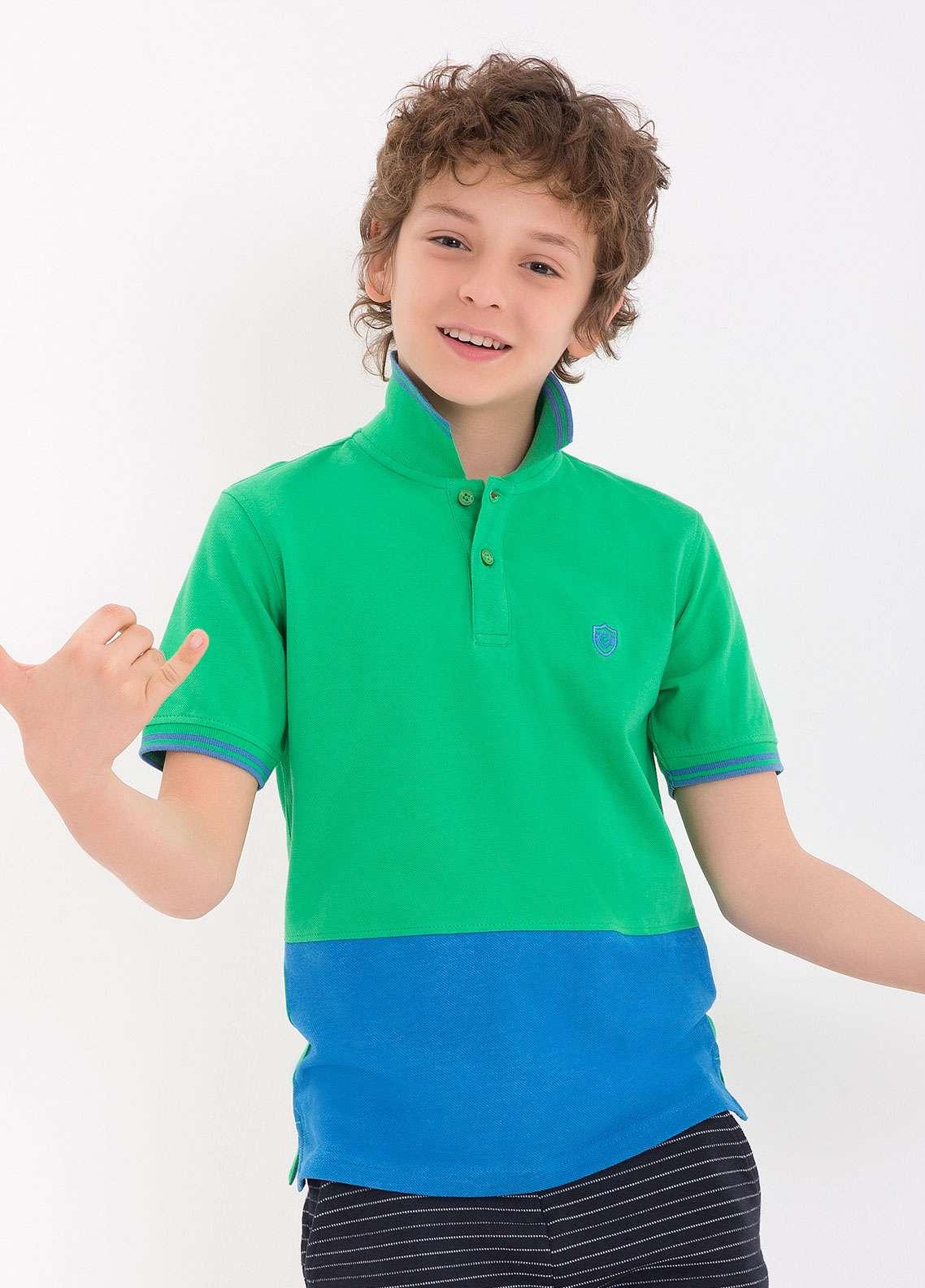 Edenrobe Cotton Polo Shirts for Boys - Green EDK18PS 011
