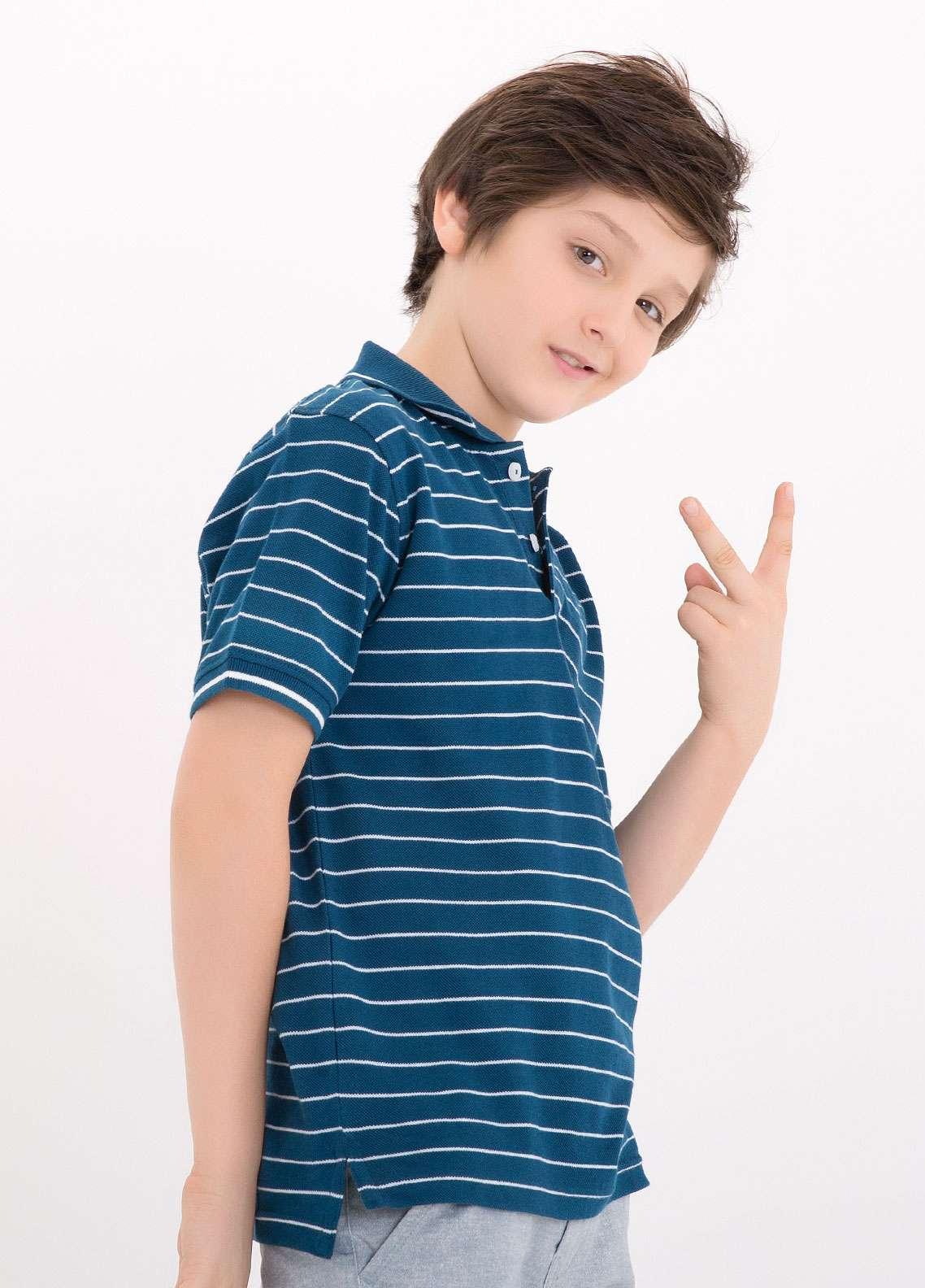 Edenrobe Cotton Polo Boys Shirts - Blue EDK18PS 013