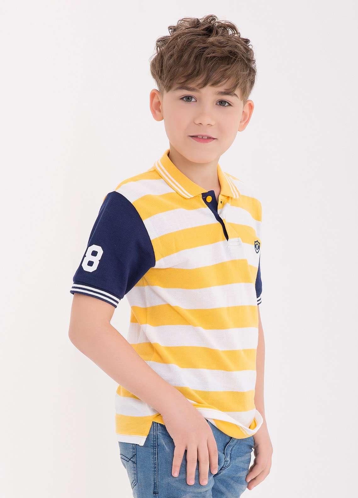Edenrobe Cotton Polo Shirts for Boys - Yellow EDK18PS 016
