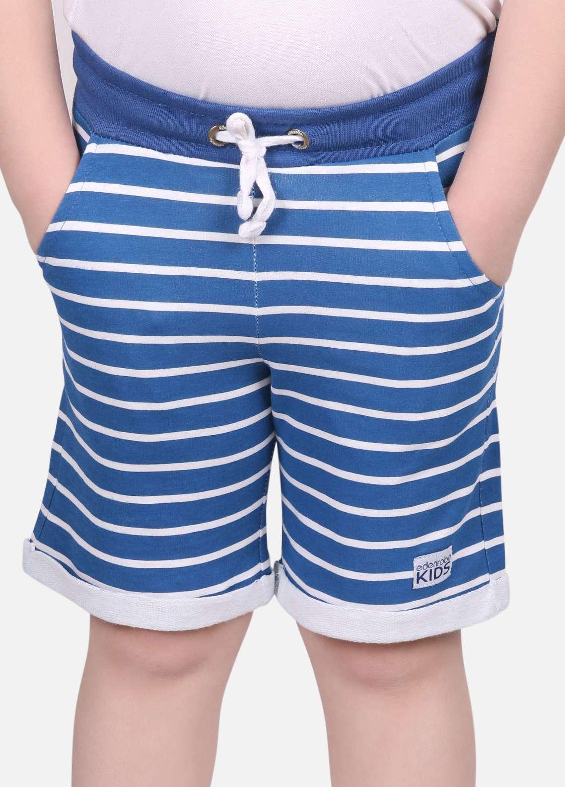 Edenrobe Cotton Printed Shorts for Boys - Blue EDK18S-001