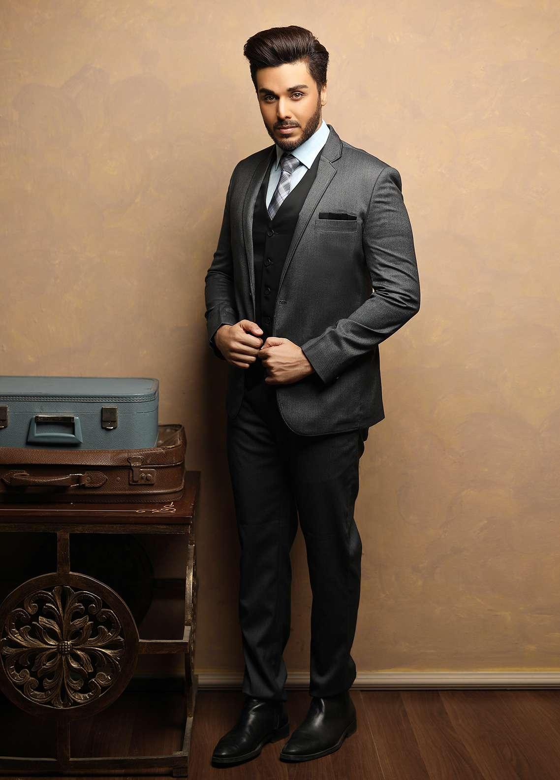 Edenrobe Cotton Ceremonial Suits for Men - Grey EDM18S 6638