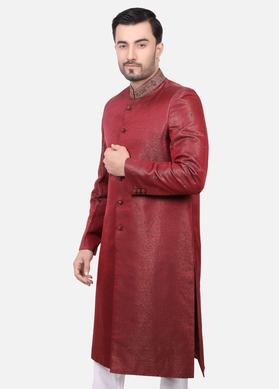 Edenrobe Jamawar Embroidered Men Sherwanis - Red EDM18SH 7132