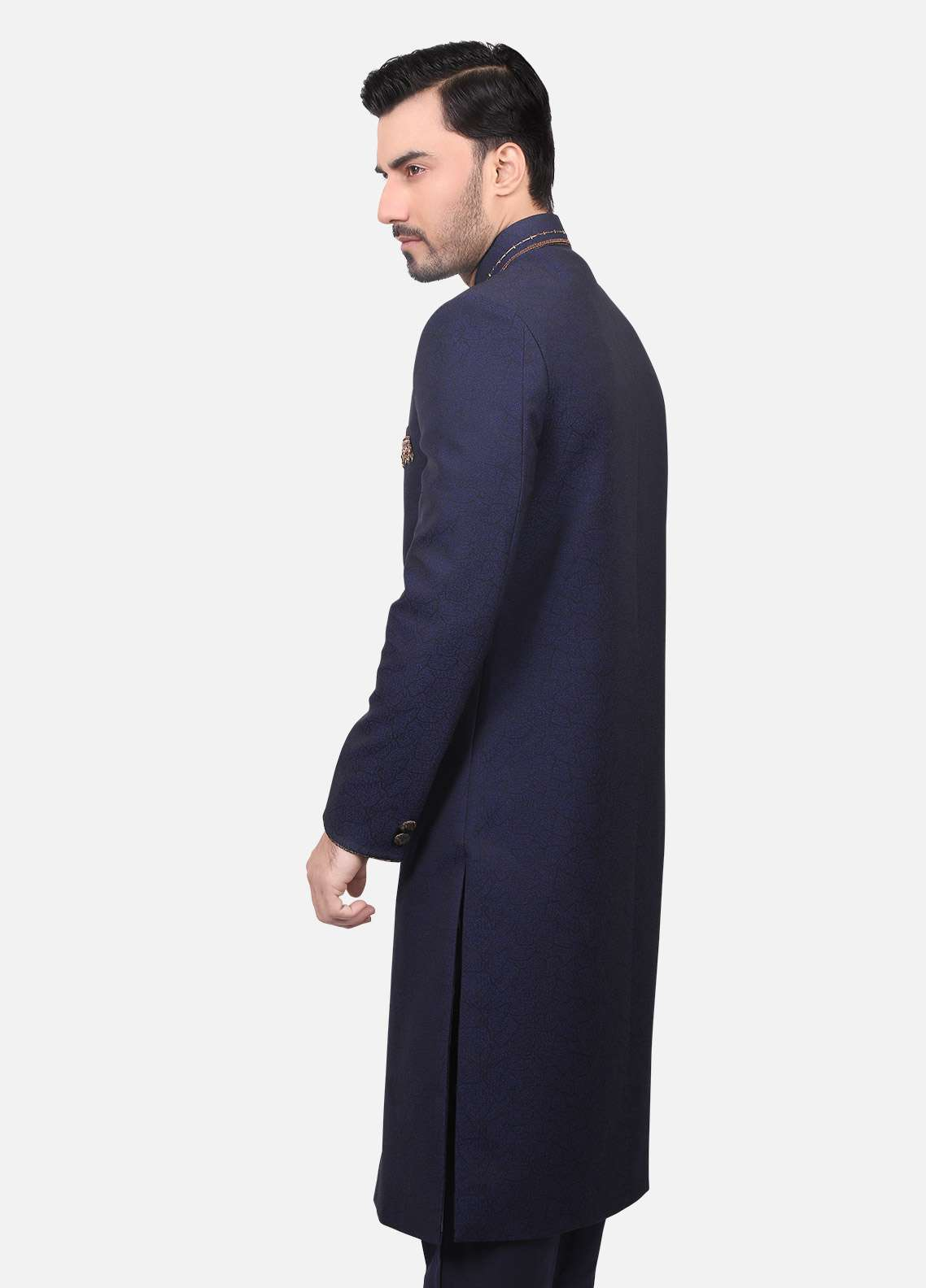 Edenrobe Jamawar Embroidered Sherwanis for Men - Navy Blue EDM18SH 7144