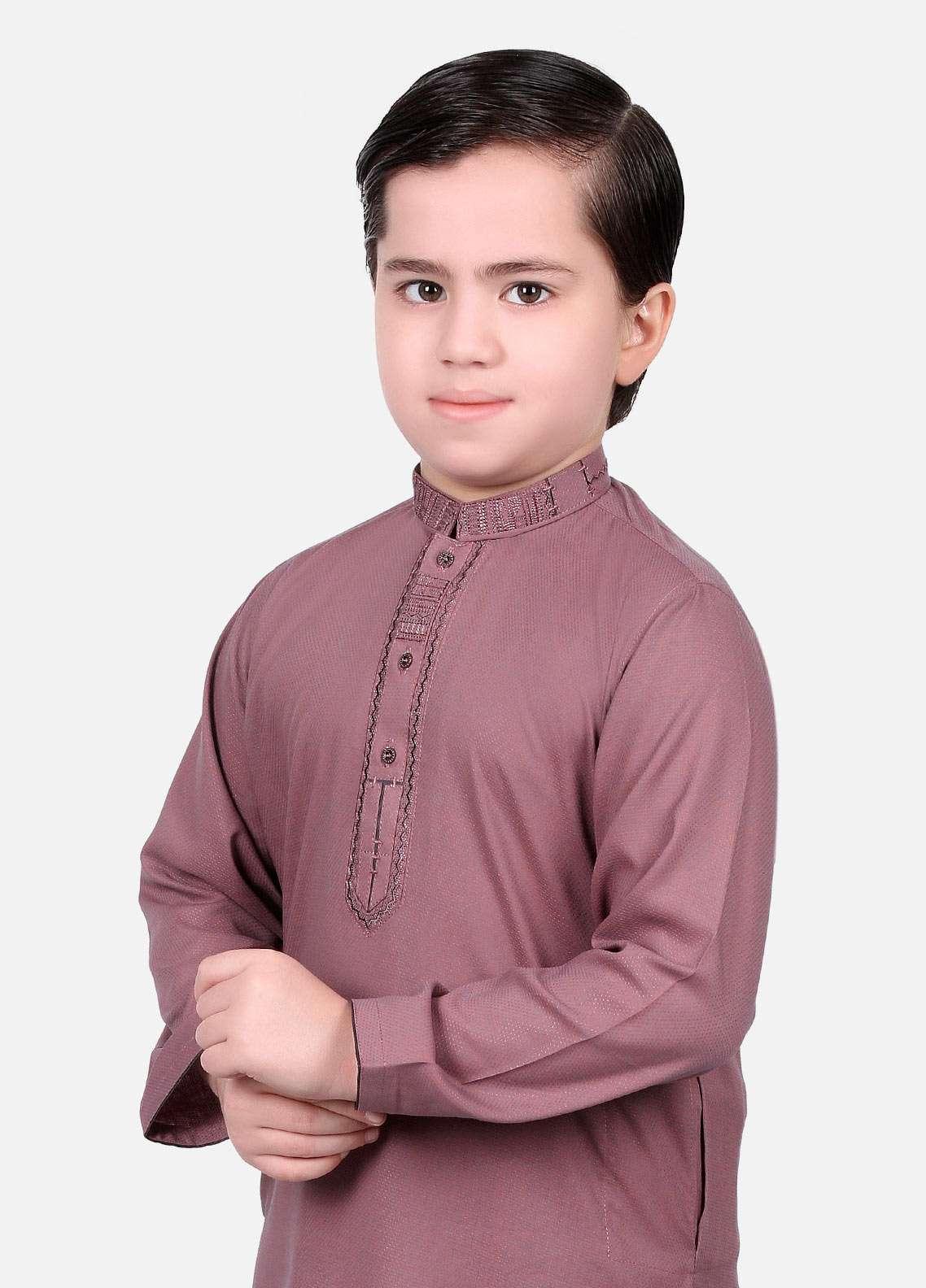 Edenrobe Cotton Fancy Boys Kameez Shalwar - Purple EDS18B 3530