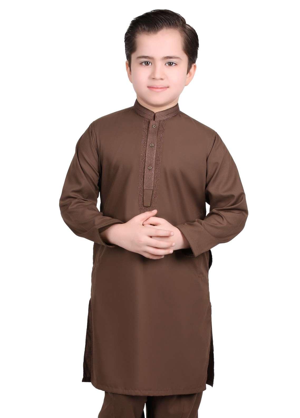 Edenrobe Cotton Embroidered Boys Kameez Shalwar - Brown EDS18B 3534