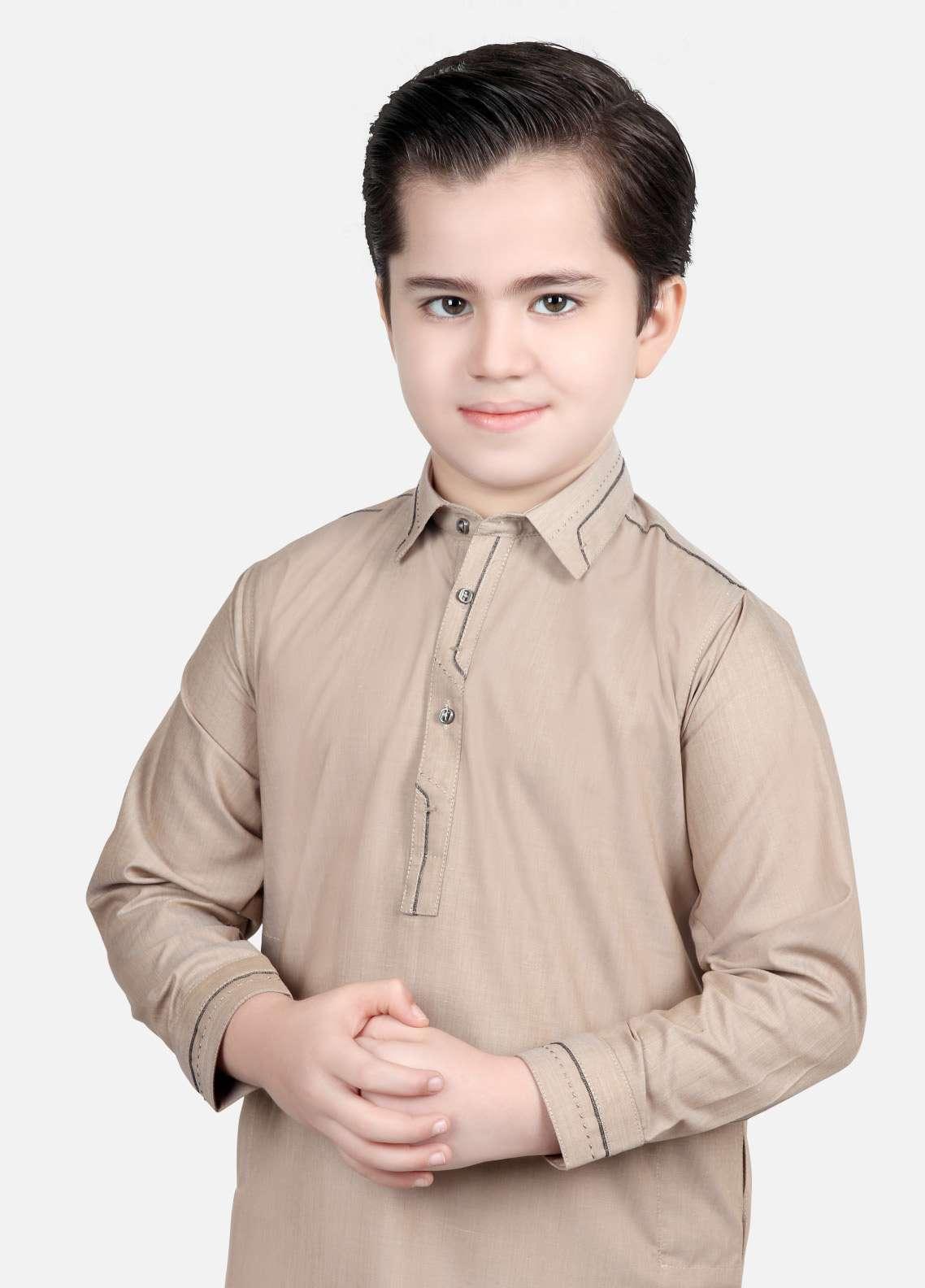 Edenrobe Cotton Plain Texture Boys Kameez Shalwar - Beige EDS18B 3543