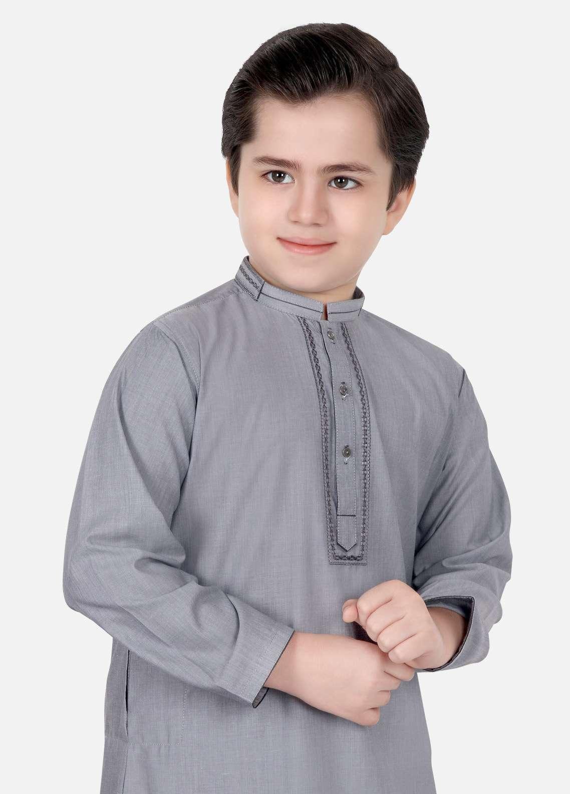 Edenrobe Cotton Embroidered Boys Kameez Shalwar - Grey EDS18B 3546