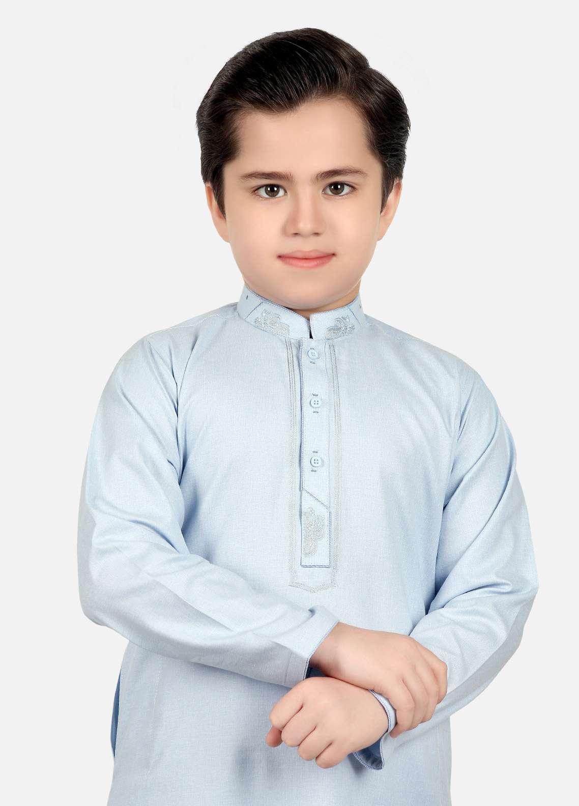 Edenrobe Cotton Embroidered Boys Kameez Shalwar - Sky Blue EDS18B 3550