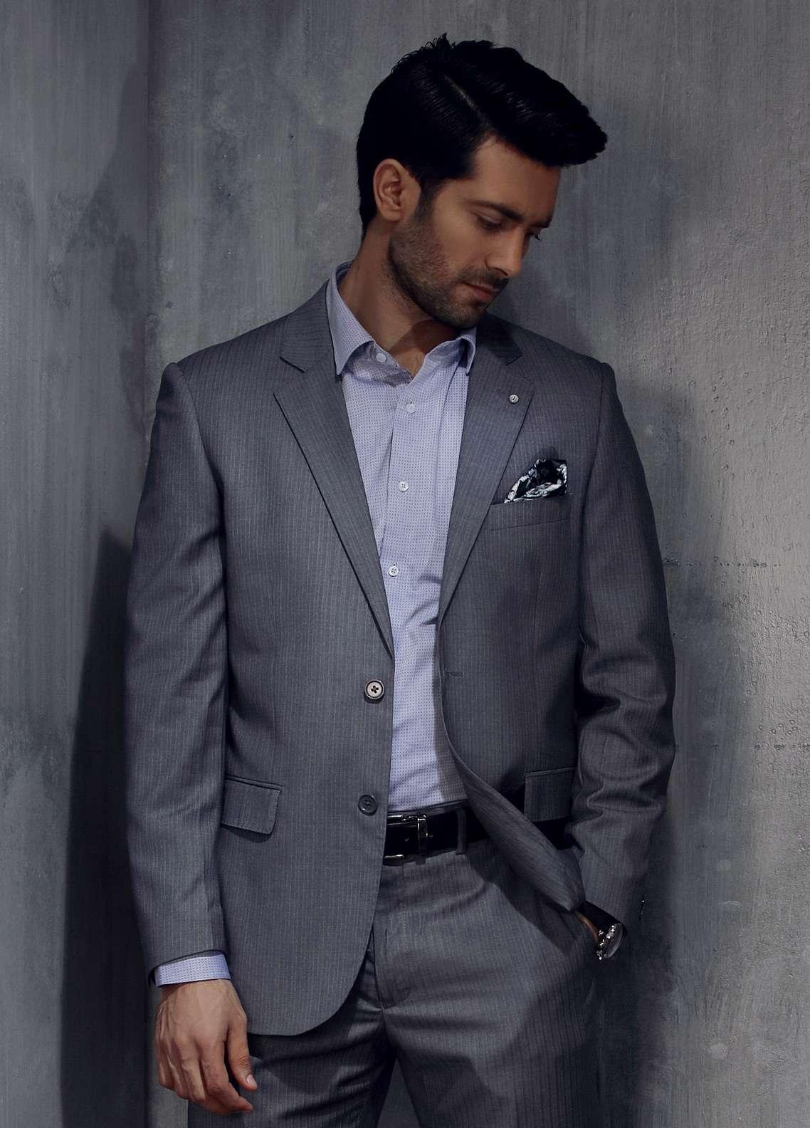 Edenrobe Cotton Formal Men Suits - Grey EDM18FS 8059