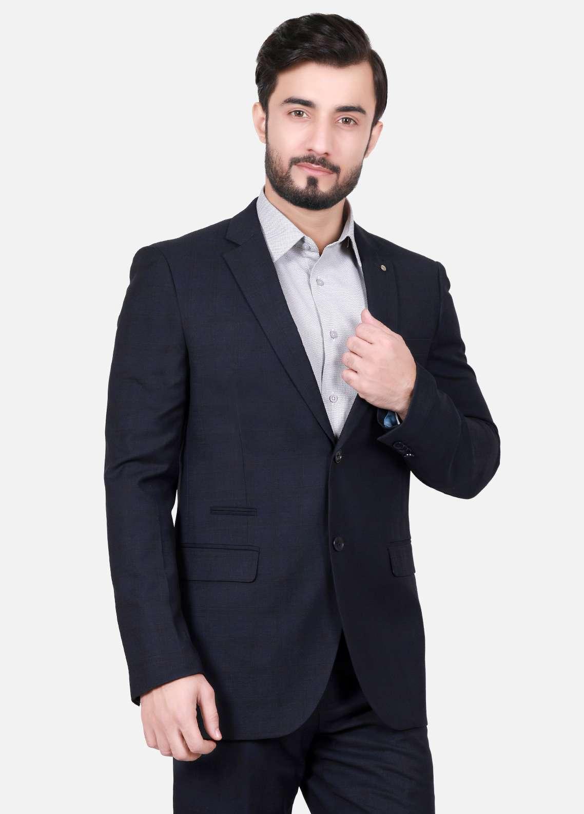 Edenrobe Cotton Formal Suits for Men - Navy Blue EDM18FS 8062