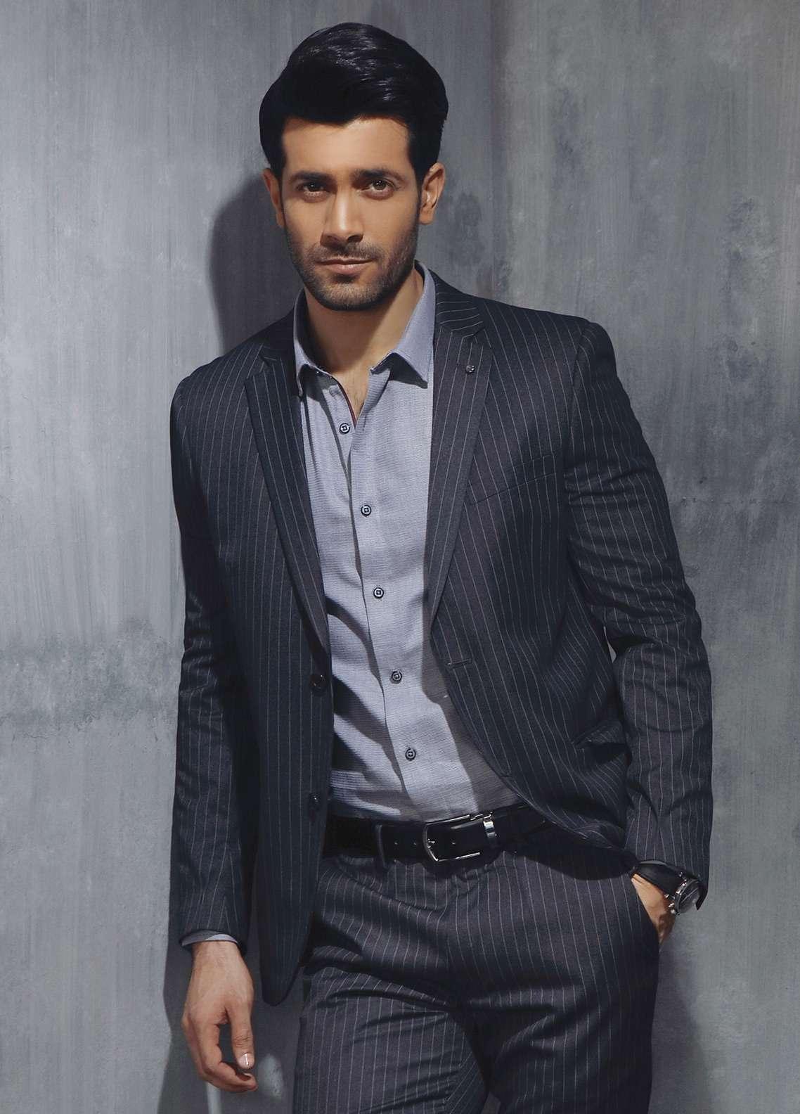 Edenrobe Cotton Formal Men Suits - Grey EDM18FS 8067