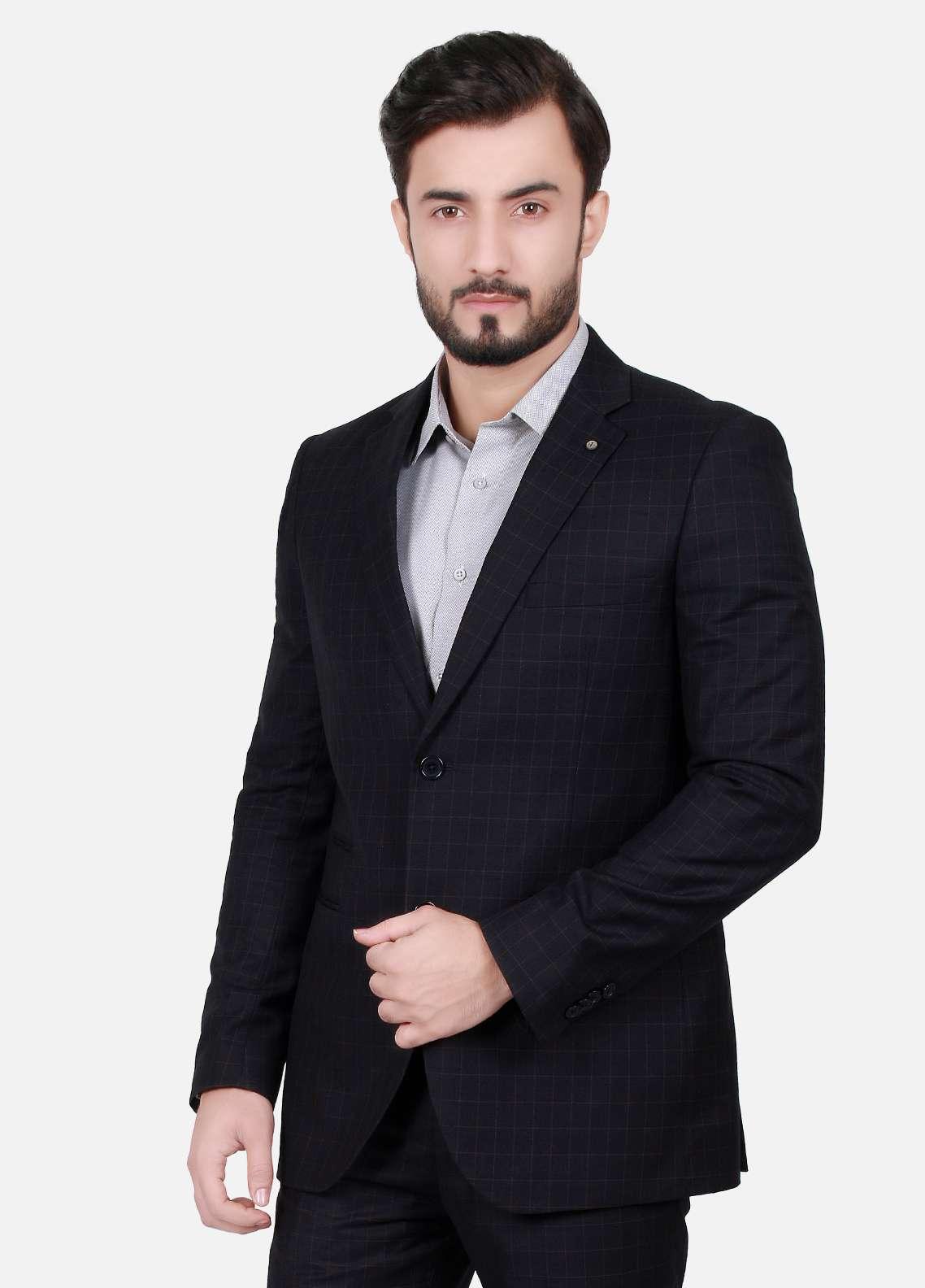 Edenrobe Cotton Formal Suits for Men - Black EDM18FS 8071