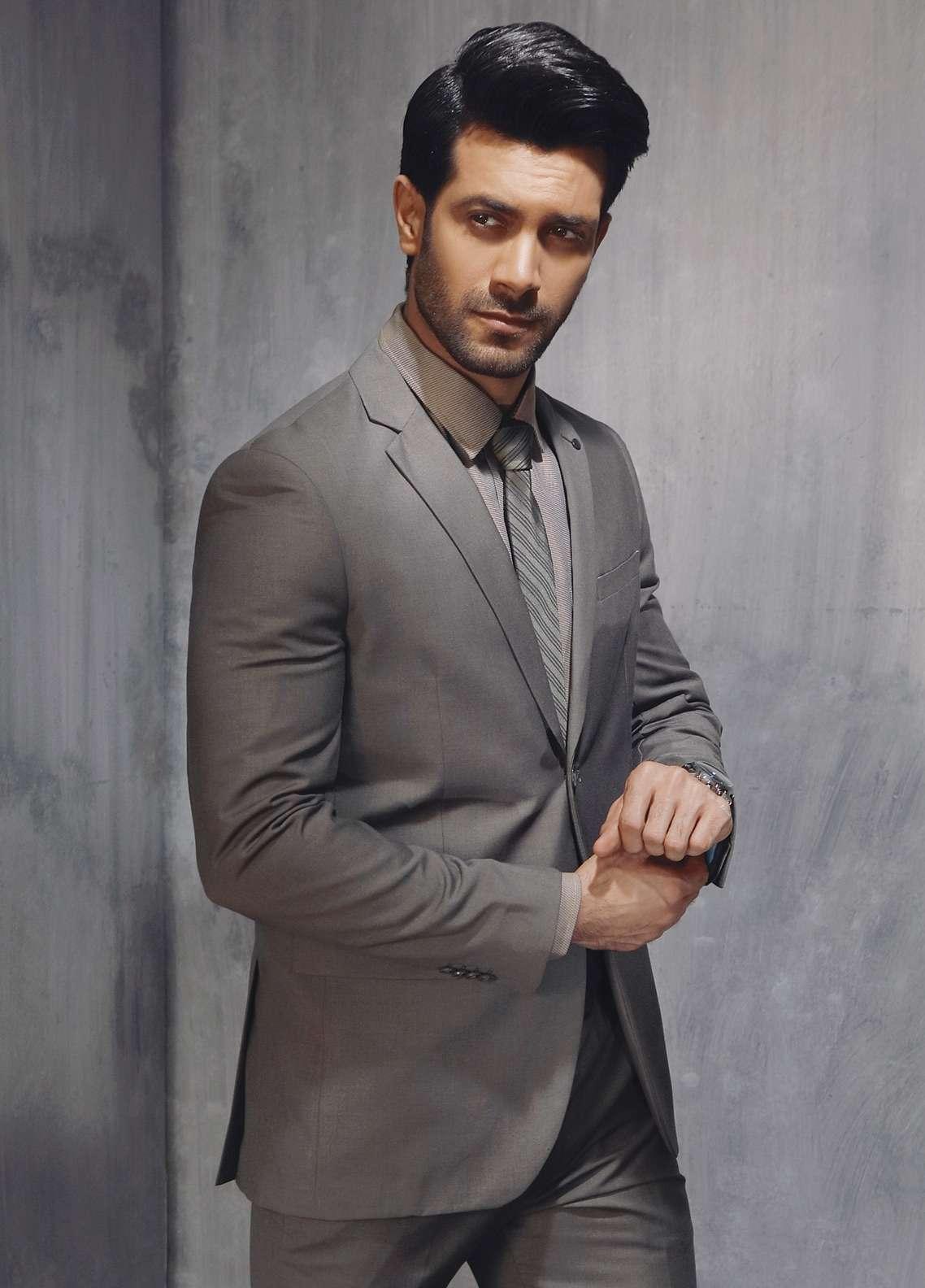Edenrobe Cotton Formal Men Suits - Grey EDM18FS 8072