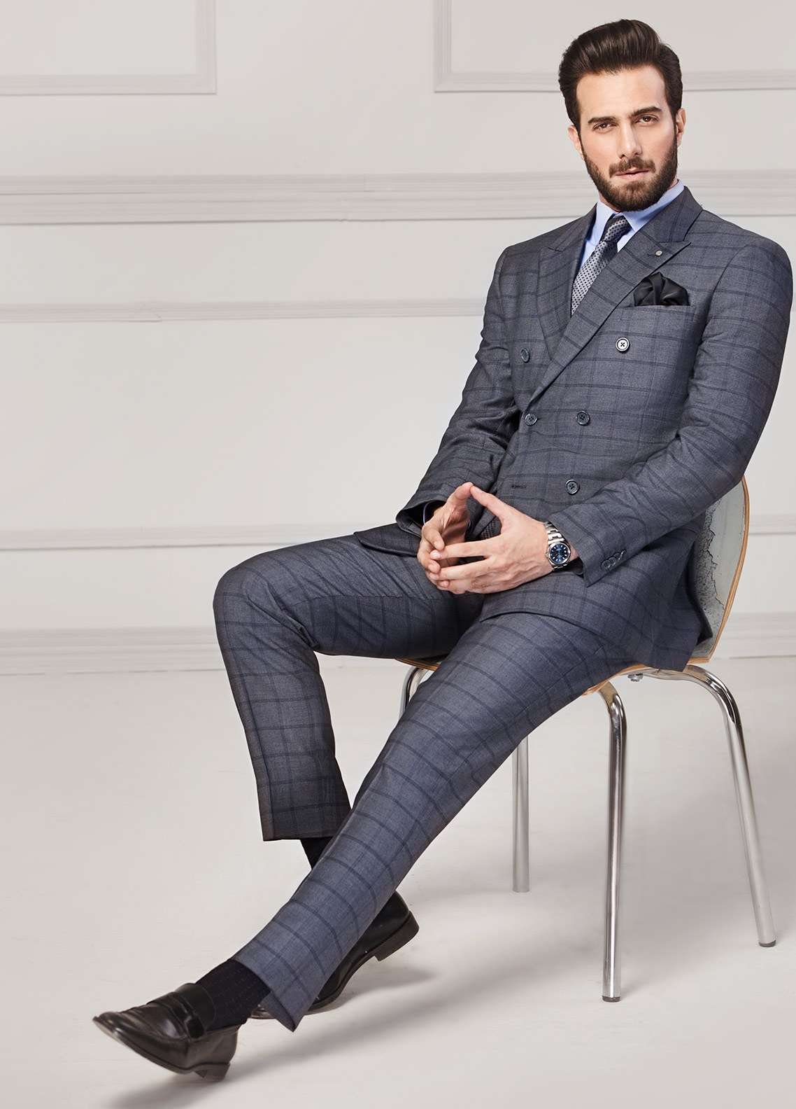 Edenrobe Cotton Formal Men Suits - Grey EDM18FS 8077