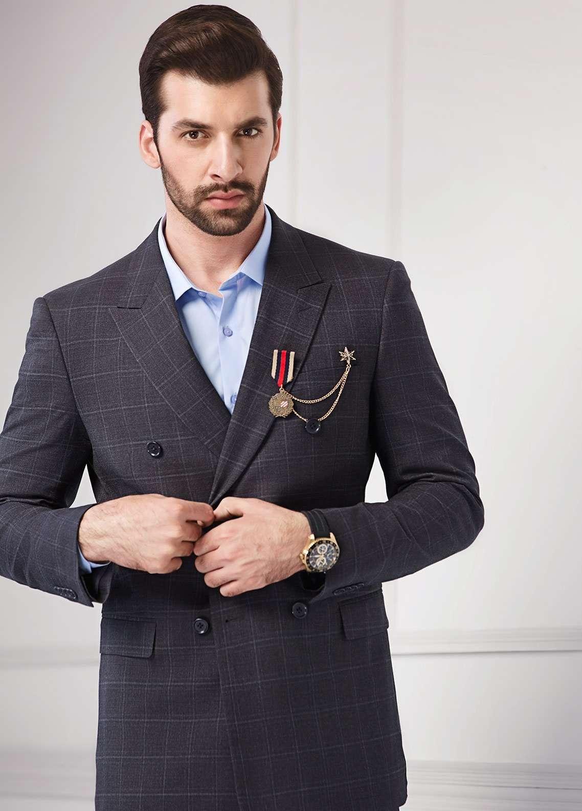 Edenrobe Cotton Formal Men Suits - Grey EDM18FS 8078