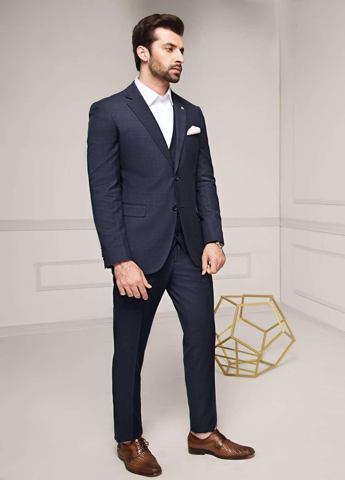 Edenrobe Cotton Formal Men Suits - Navy Blue EDM18FS 8081