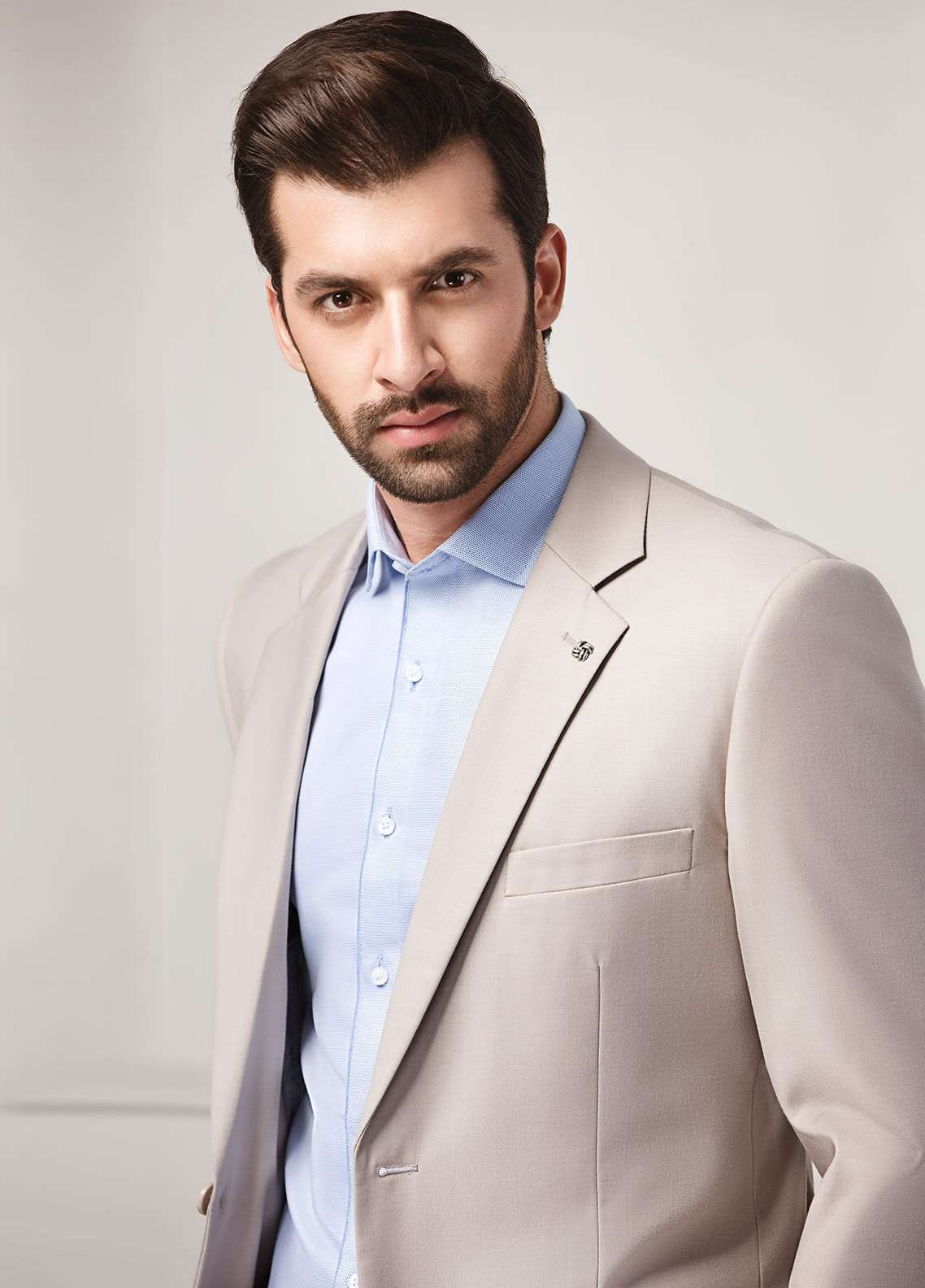 Edenrobe Cotton Formal Suits for Men - Beige EDM18FS 8097