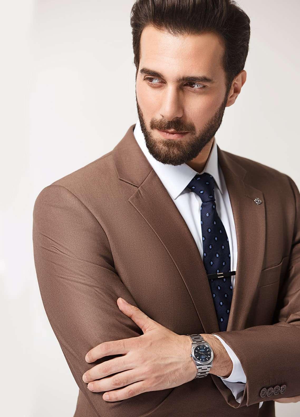 Edenrobe Cotton Formal Men Suits - Brown EDM18FS 8098