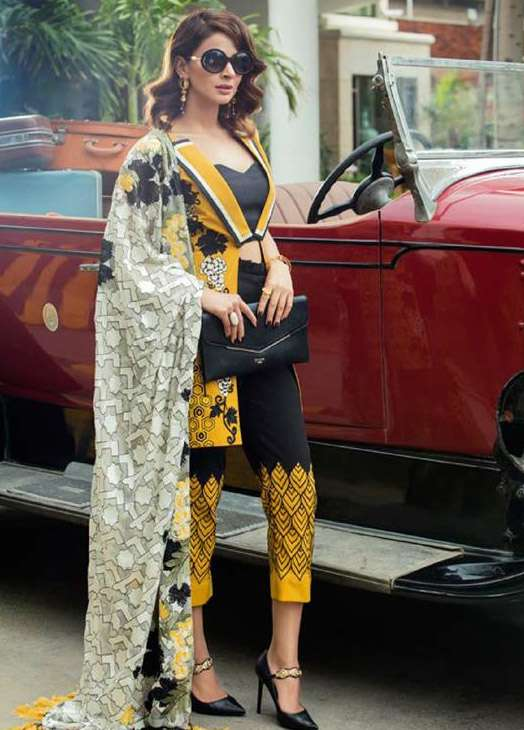 Erum Khan By Zohan Embroidered Chiffon Unstitched 3 Piece Suit EK17E2 01