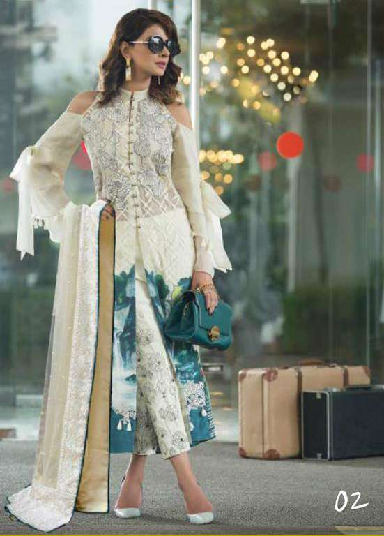 Erum Khan By Zohan Embroidered Chiffon Unstitched 3 Piece Suit EK17E2 02