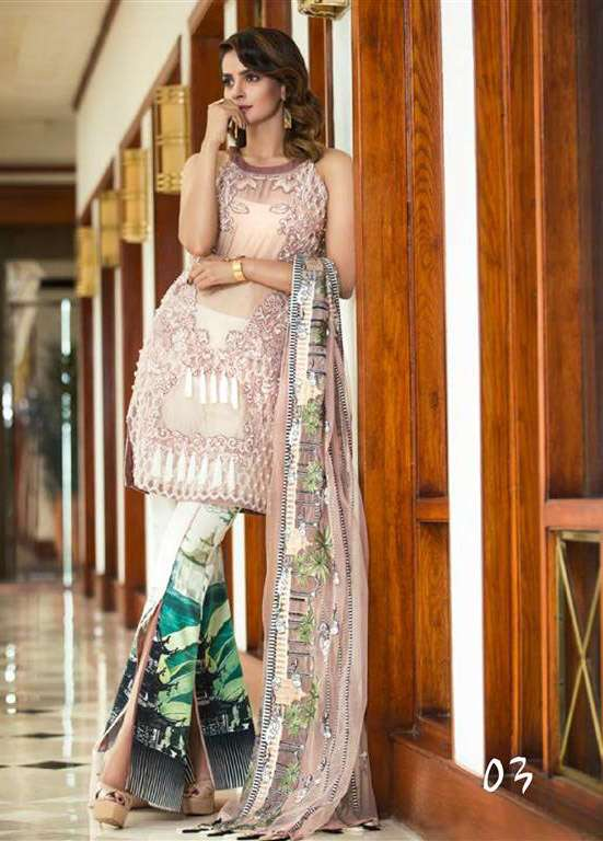 Erum Khan By Zohan Embroidered Organza Unstitched 3 Piece Suit EK17E2 03